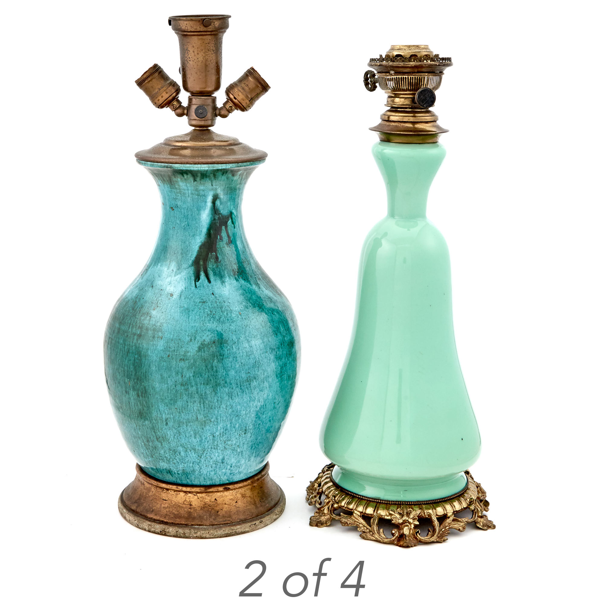 Lot image - Group of Four Green and Blue-Green Glazed Ceramic Lamps