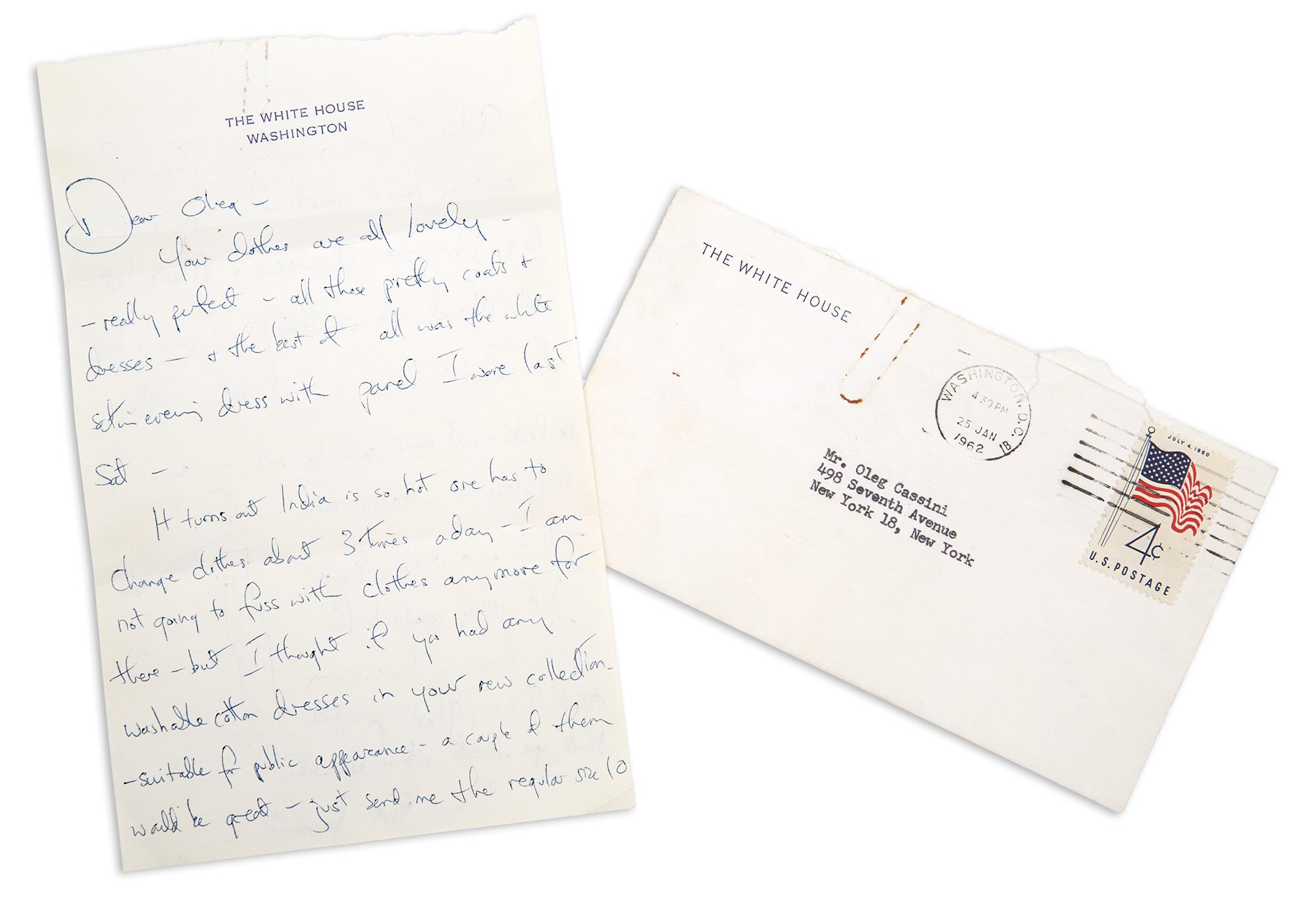 Lot image - KENNEDY, JACQUELINE as FIRST LADY  Autograph letter signed to Oleg Cassini.