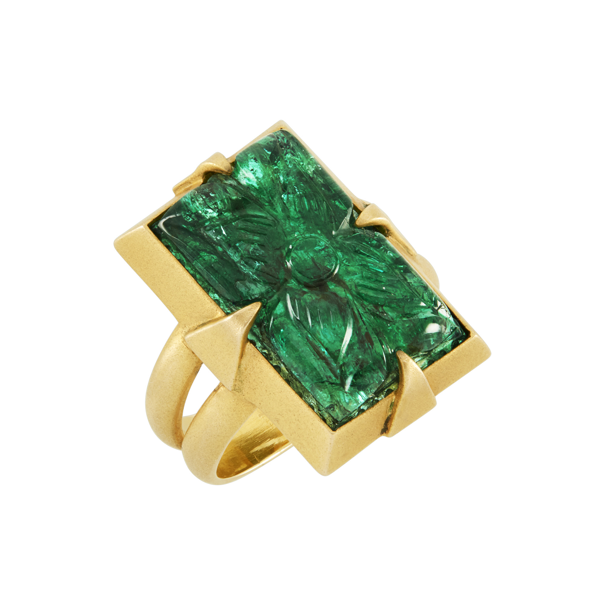 Lot image - Gold and Carved Emerald Ring