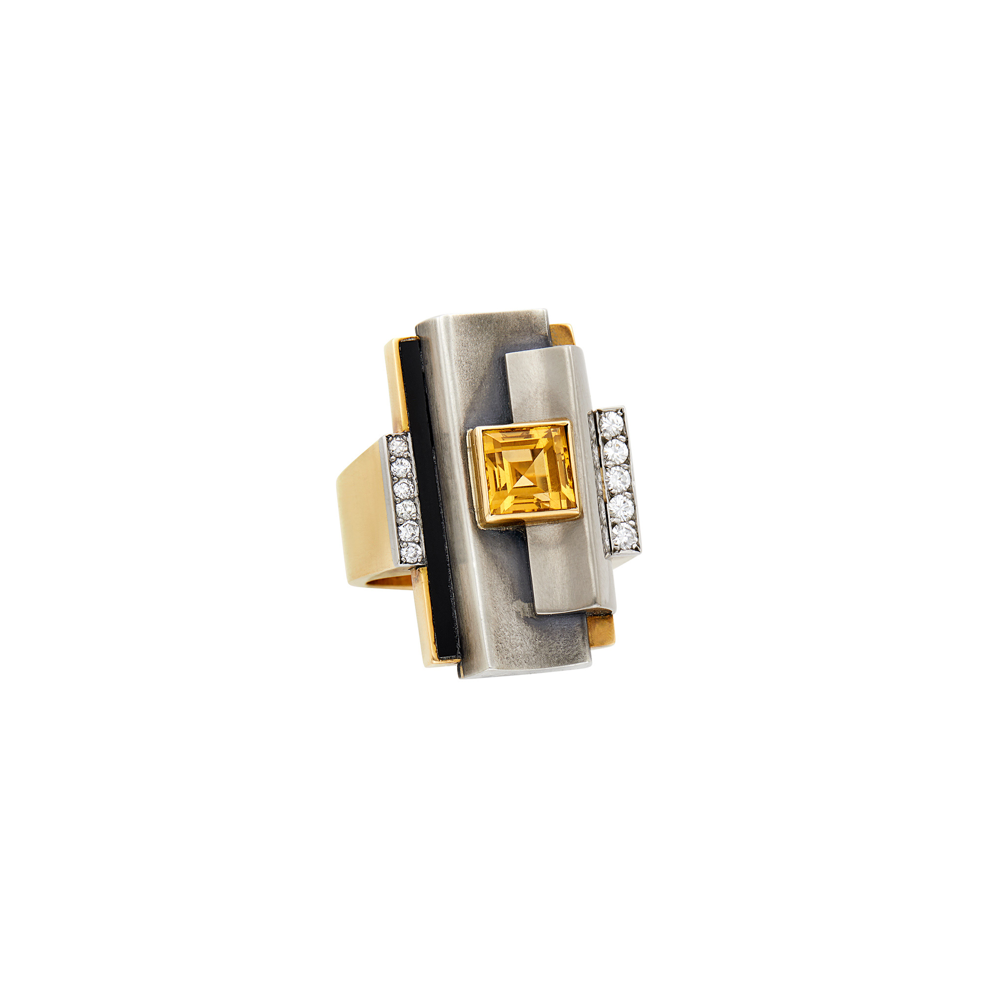 Lot image - Raymond Templier Art Moderne Gold, Silver, Citrine, Diamond and Black Onyx Ring, France