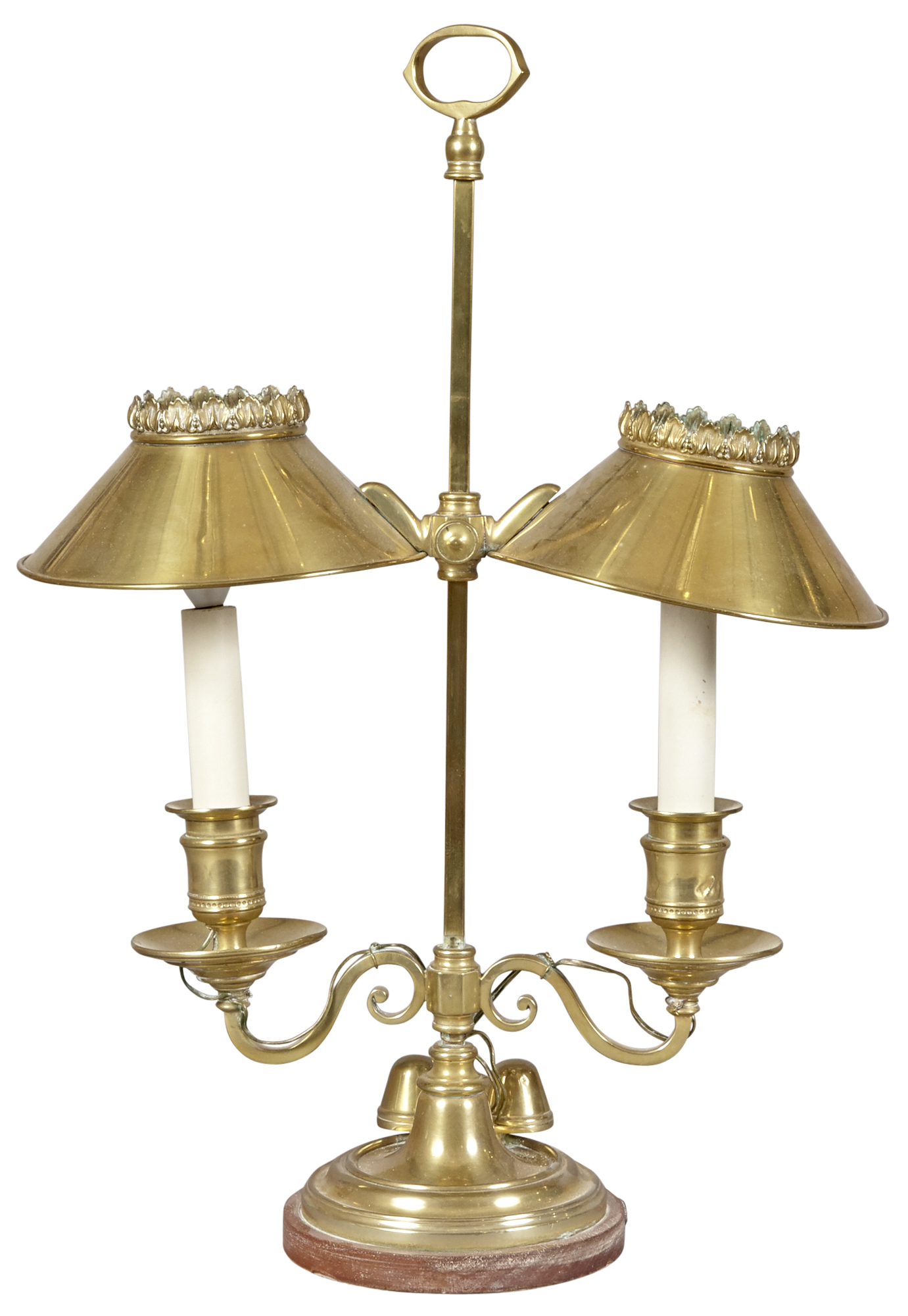Lot image - English Brass Two Light Students Lamp
