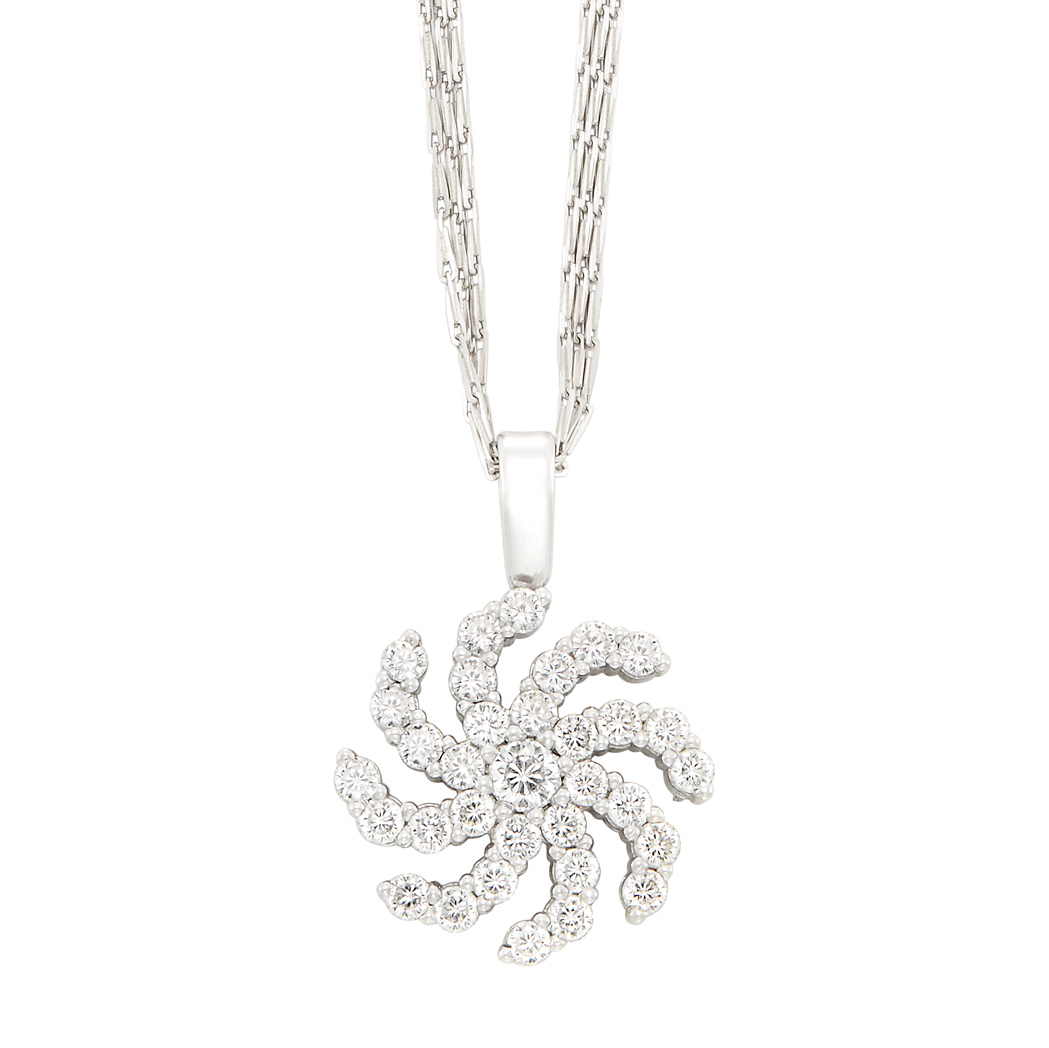 Lot image - White Gold, Diamond and Ruby 'Sunburst' Pendant, Roberto Coin, with Triple Strand White Gold Chain Necklace