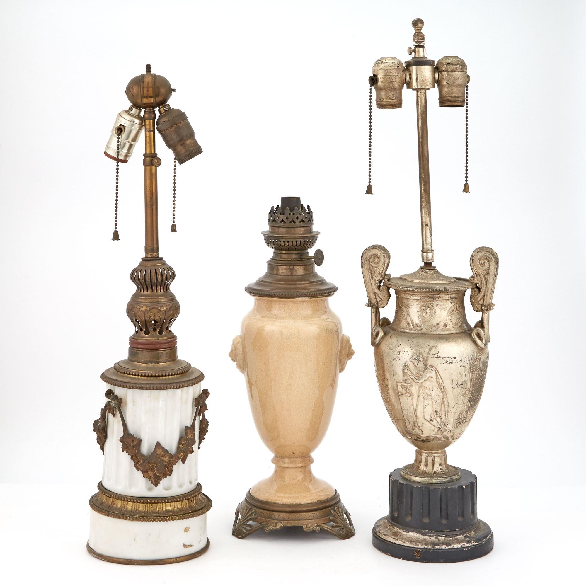 Lot image - Miscellaneous Group of Five Porcelain, Ceramic and Metal Lamps