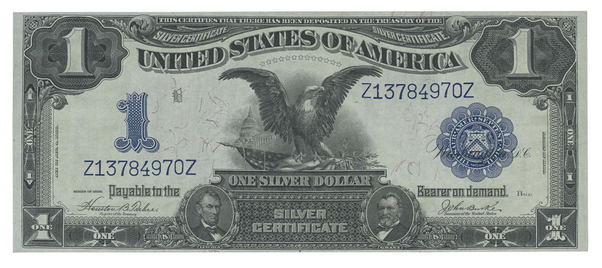 Lot image - United States 1899 $1 Silver Certificate, Fr. 233