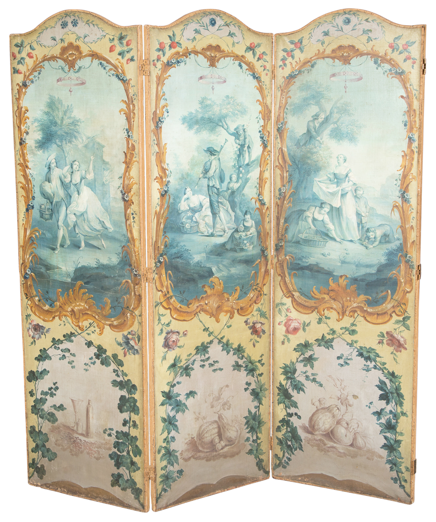Lot image - French Painted Canvas and Wood Three Panel Folding Screen
