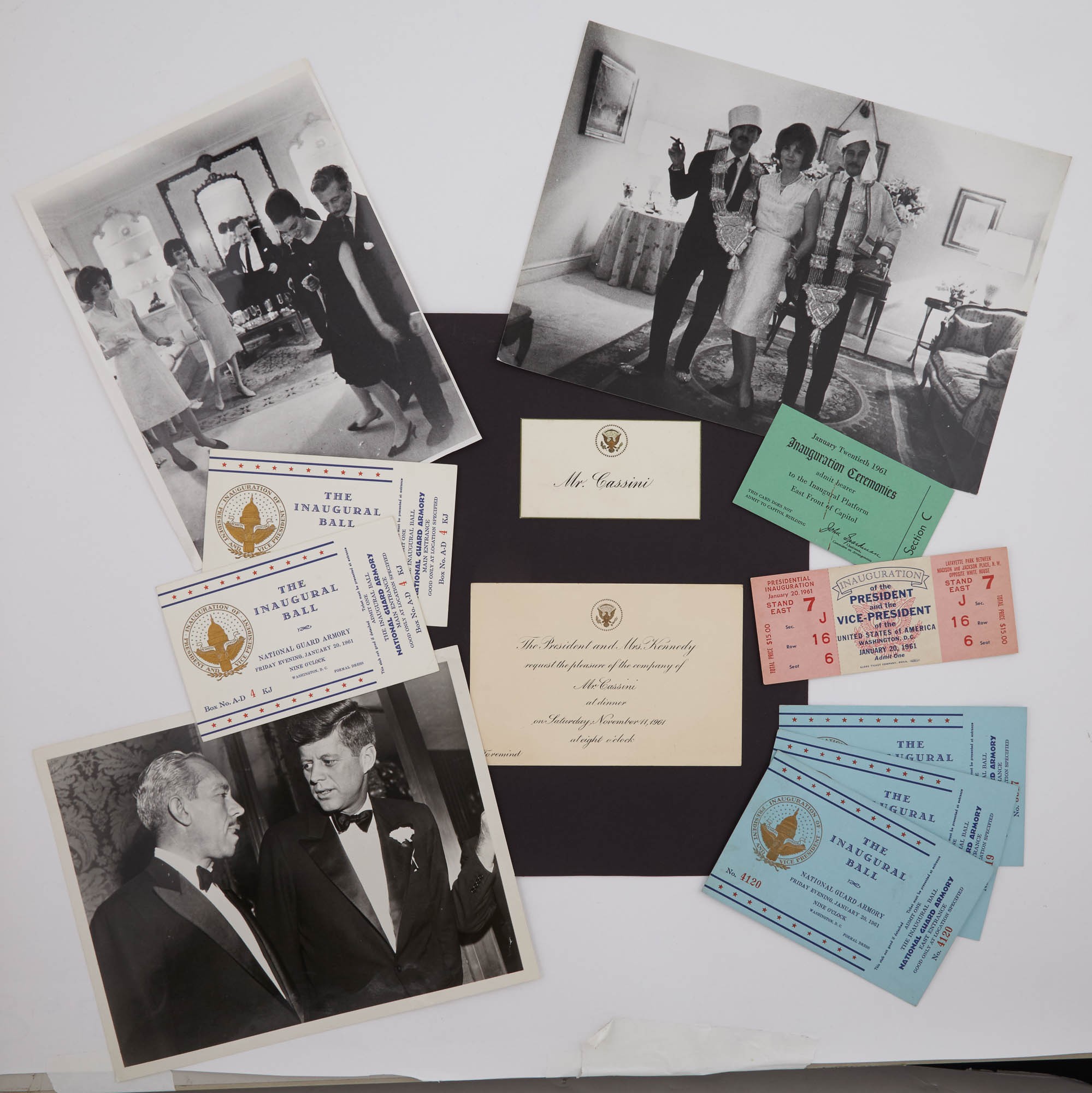 Lot image - [KENNEDYS-INAUGURATION]  Miscellaneous photographs and ephemera relating to the Kennedys.