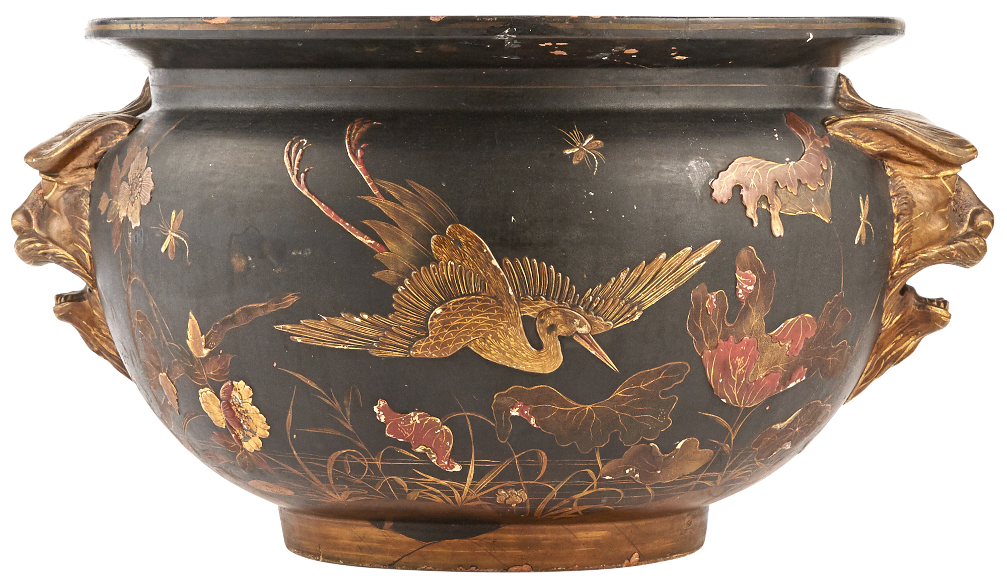 Lot image - Continental Gilt and Polychrome Japanned Terracotta Jardinière