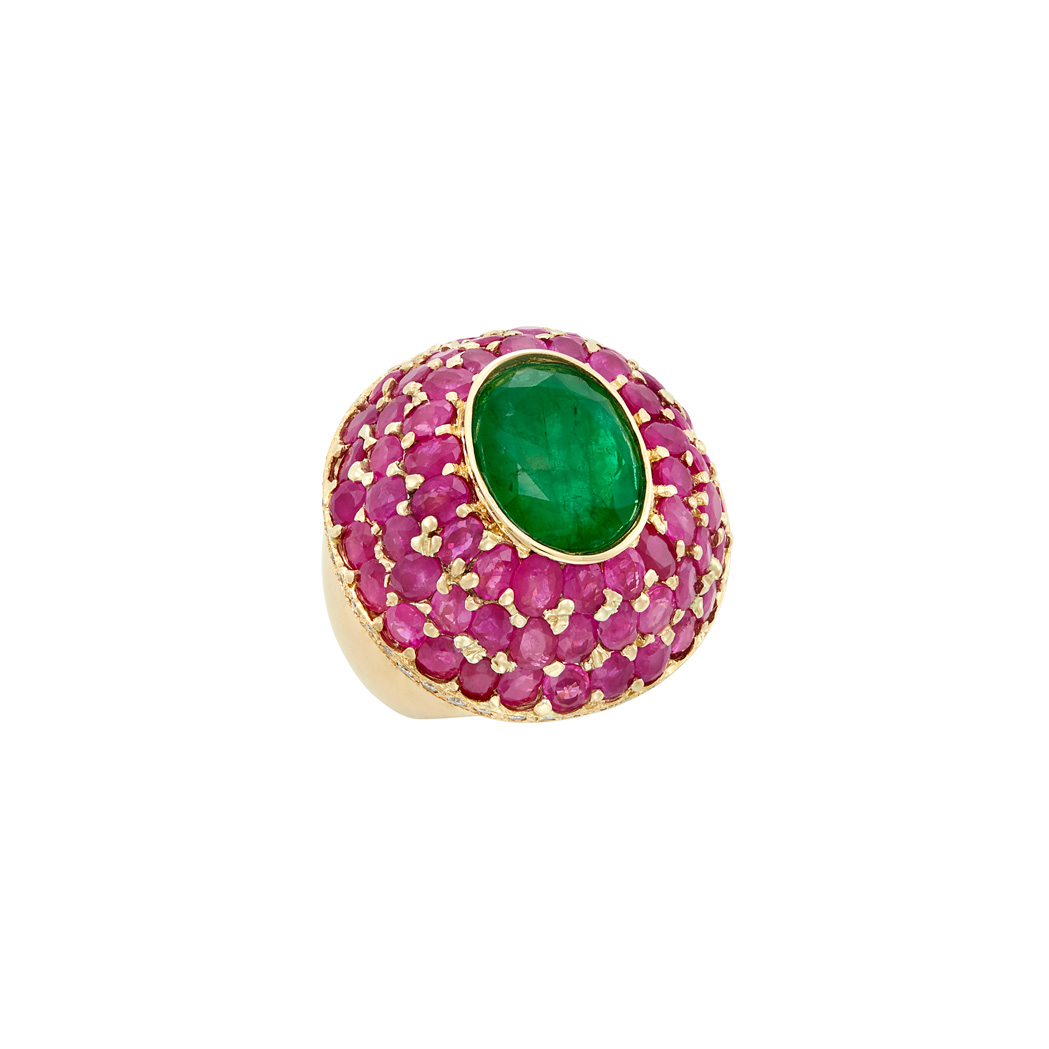 Lot image - Gold, Emerald, Ruby and Diamond Dome Ring