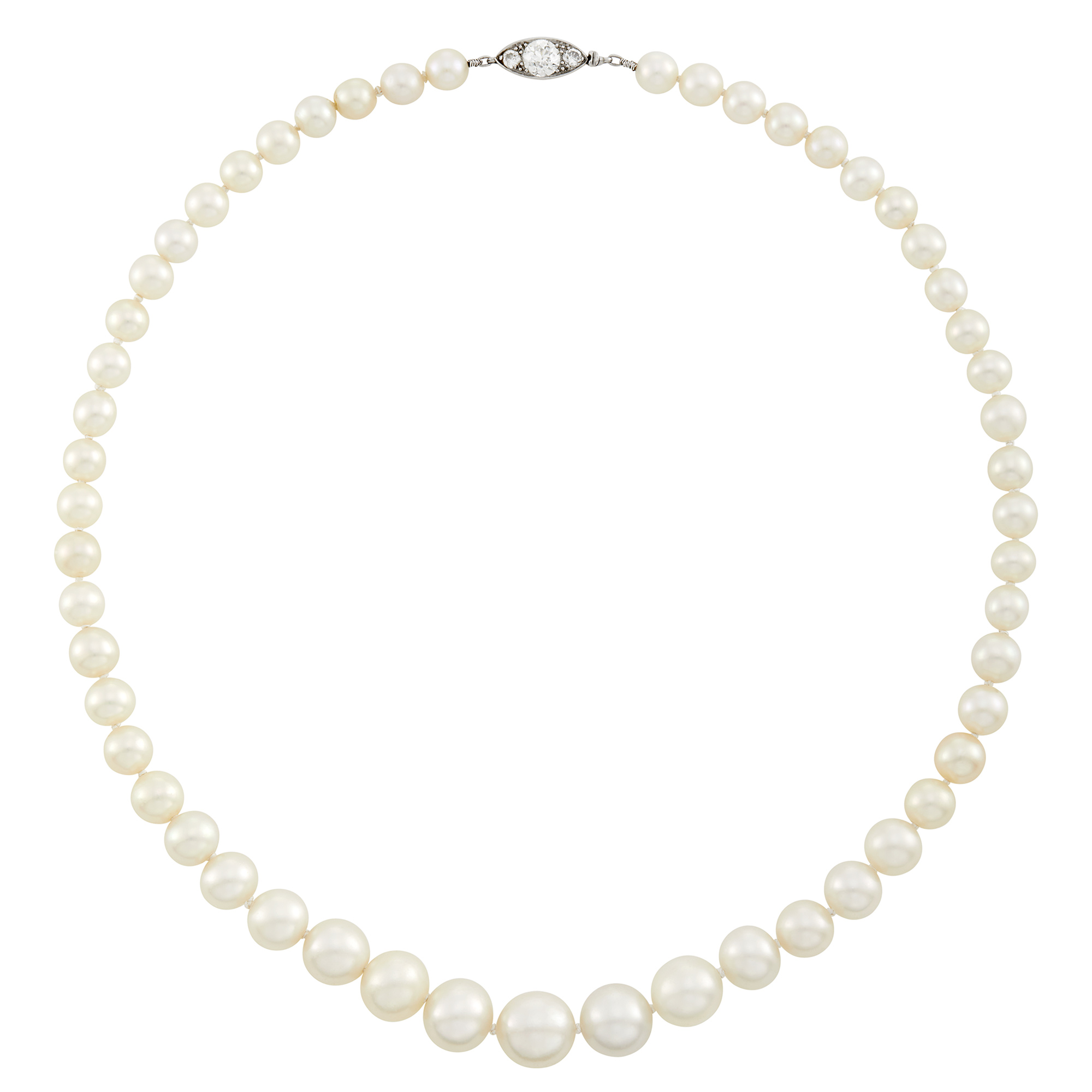 Lot image - Natural Oriental Pearl Necklace with Platinum and Diamond Clasp, Cartier