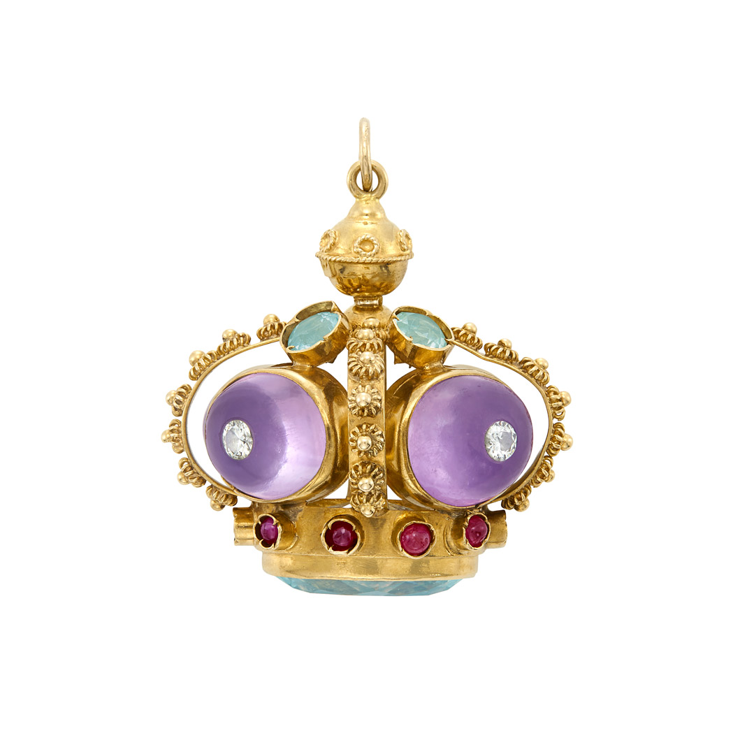 Lot image - Gold, Diamond and Gem-Set Crown Pendant