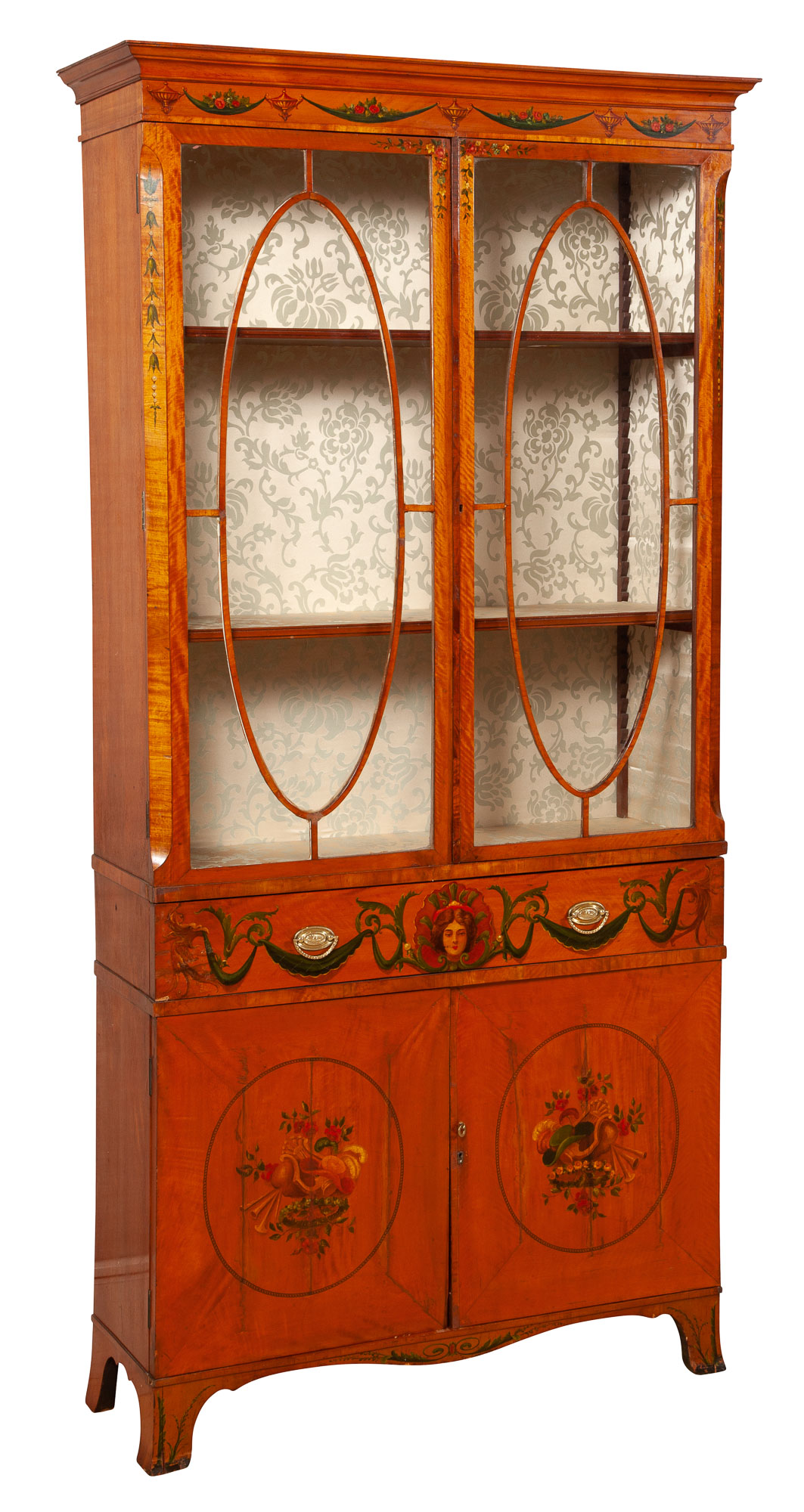 Lot image - George III Style Painted Satinwood Display Cabinet