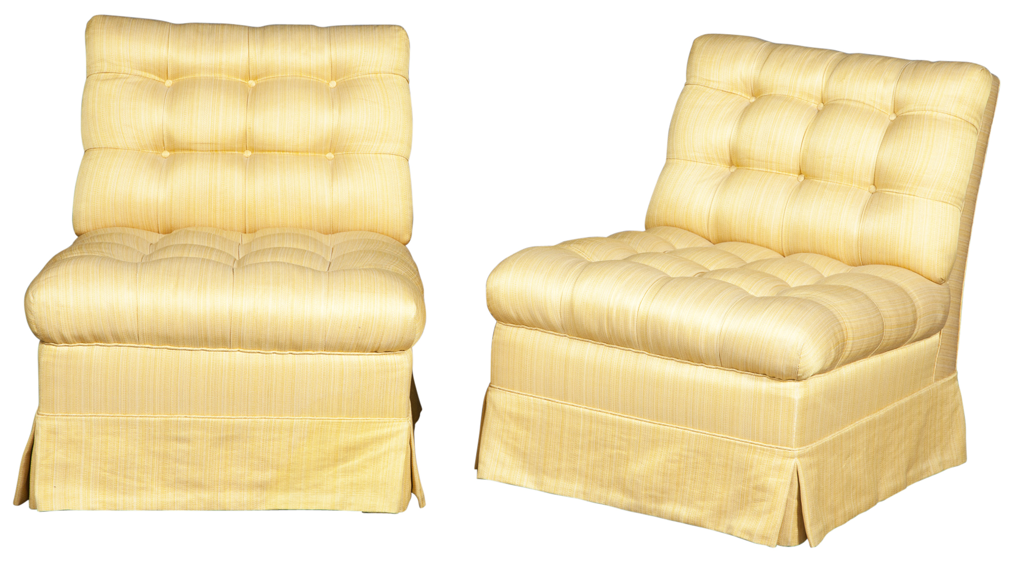 Lot image - Pair of Yellow Upholstered Button-Tufted Slipper Chairs
