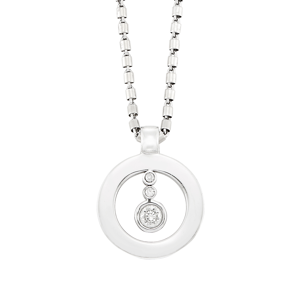 Lot image - White Gold and Diamond 'Baby Shiny O' Pendant-Necklace, Roberto Coin