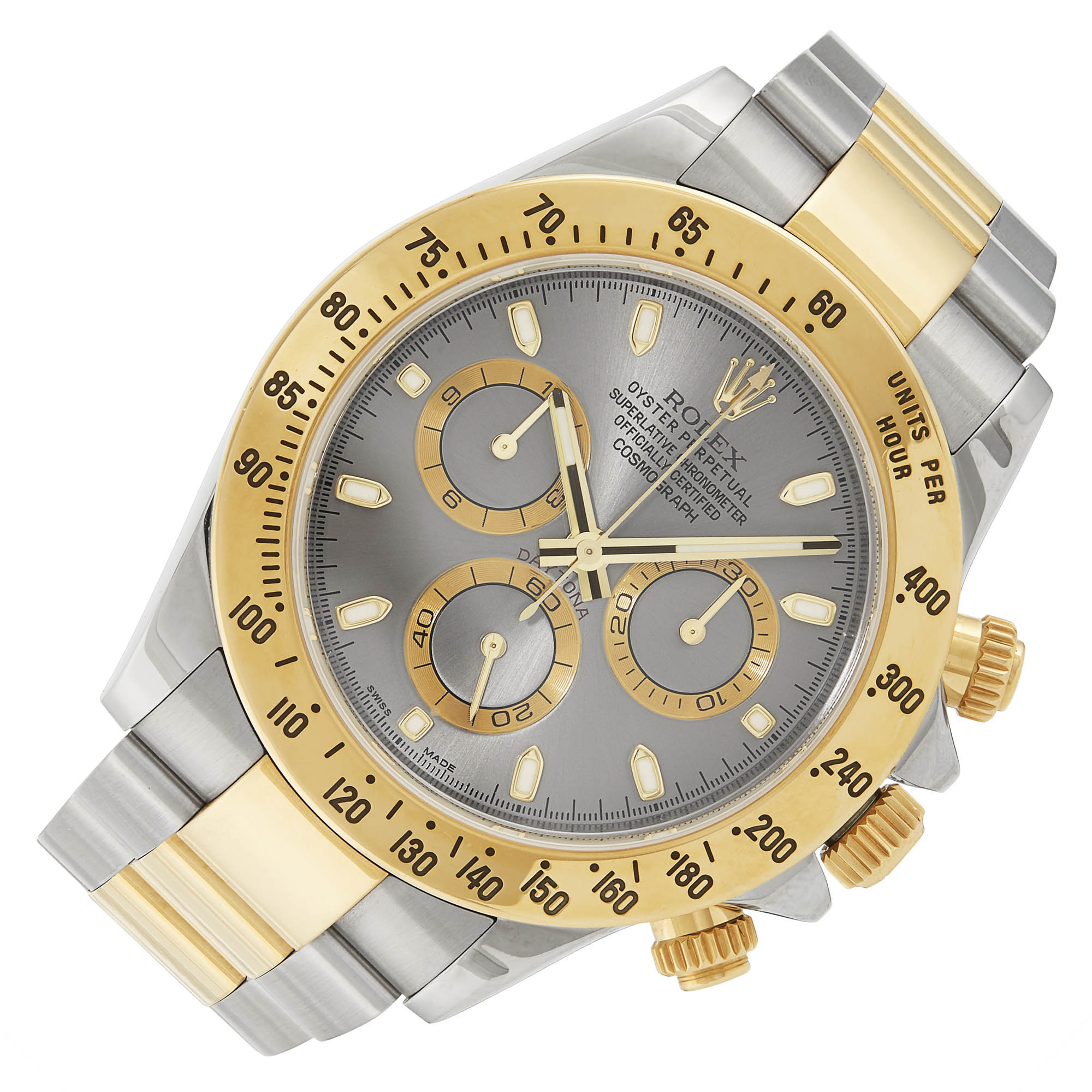 Lot image - Gold and Stainless Steel Rolex Daytona Wristwatch