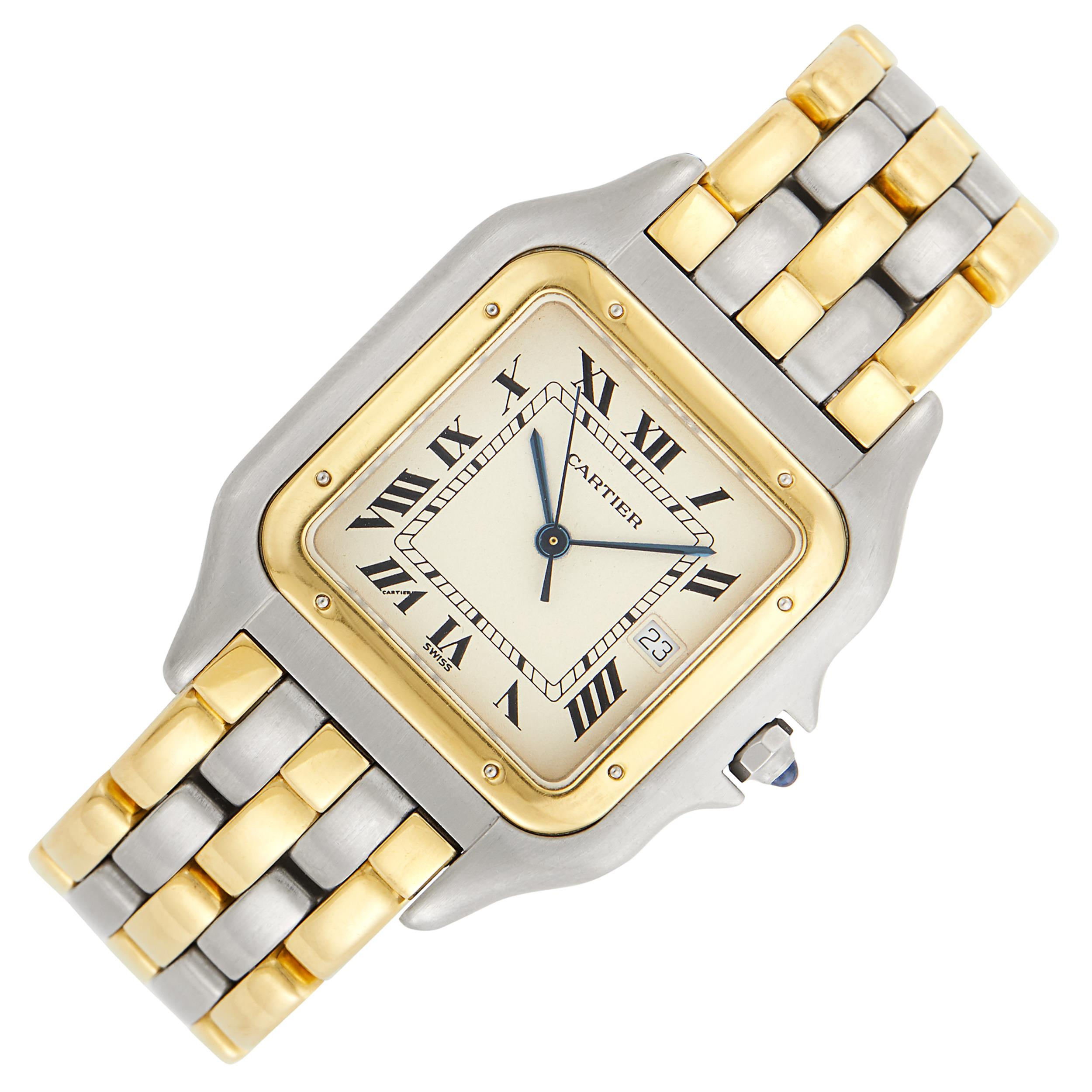Lot image - Cartier Stainless Steel and Gold Five Row Panthère Wristwatch, Ref. 00314