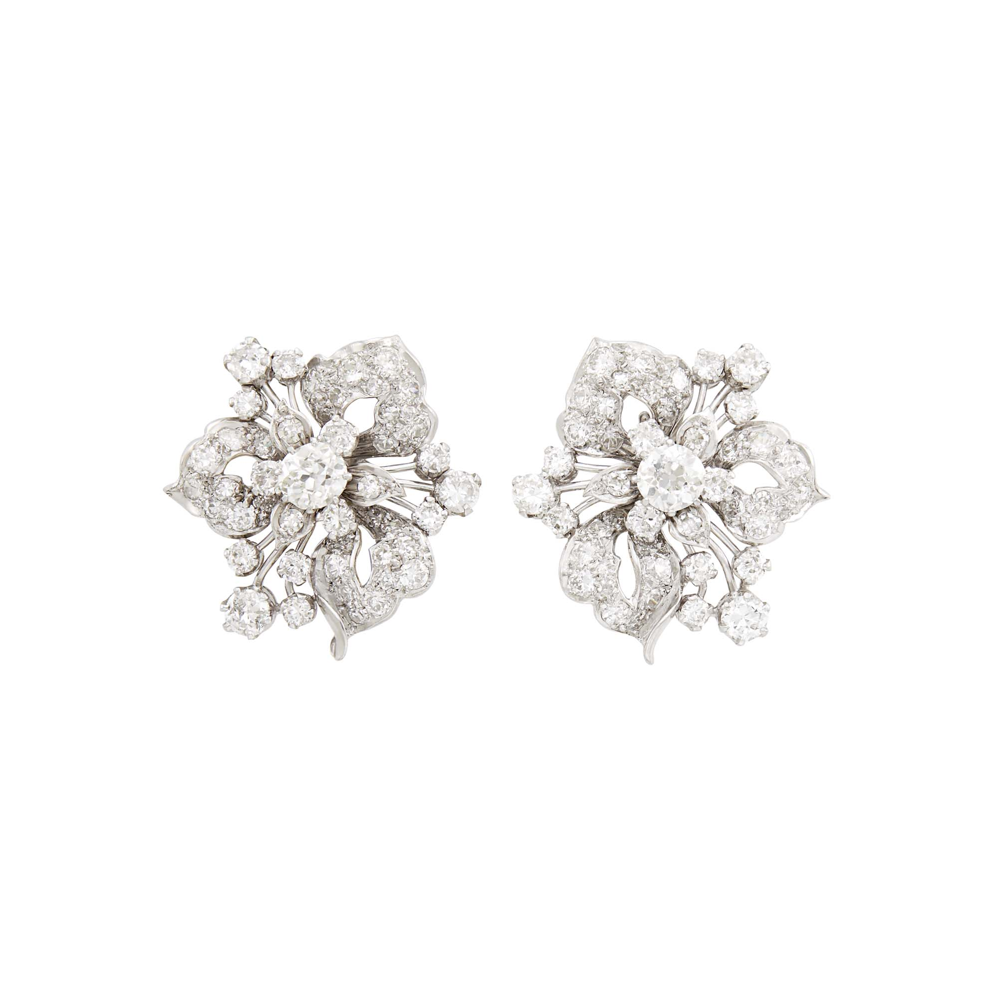 Lot image - Pair of Platinum and Diamond Flower Earrings