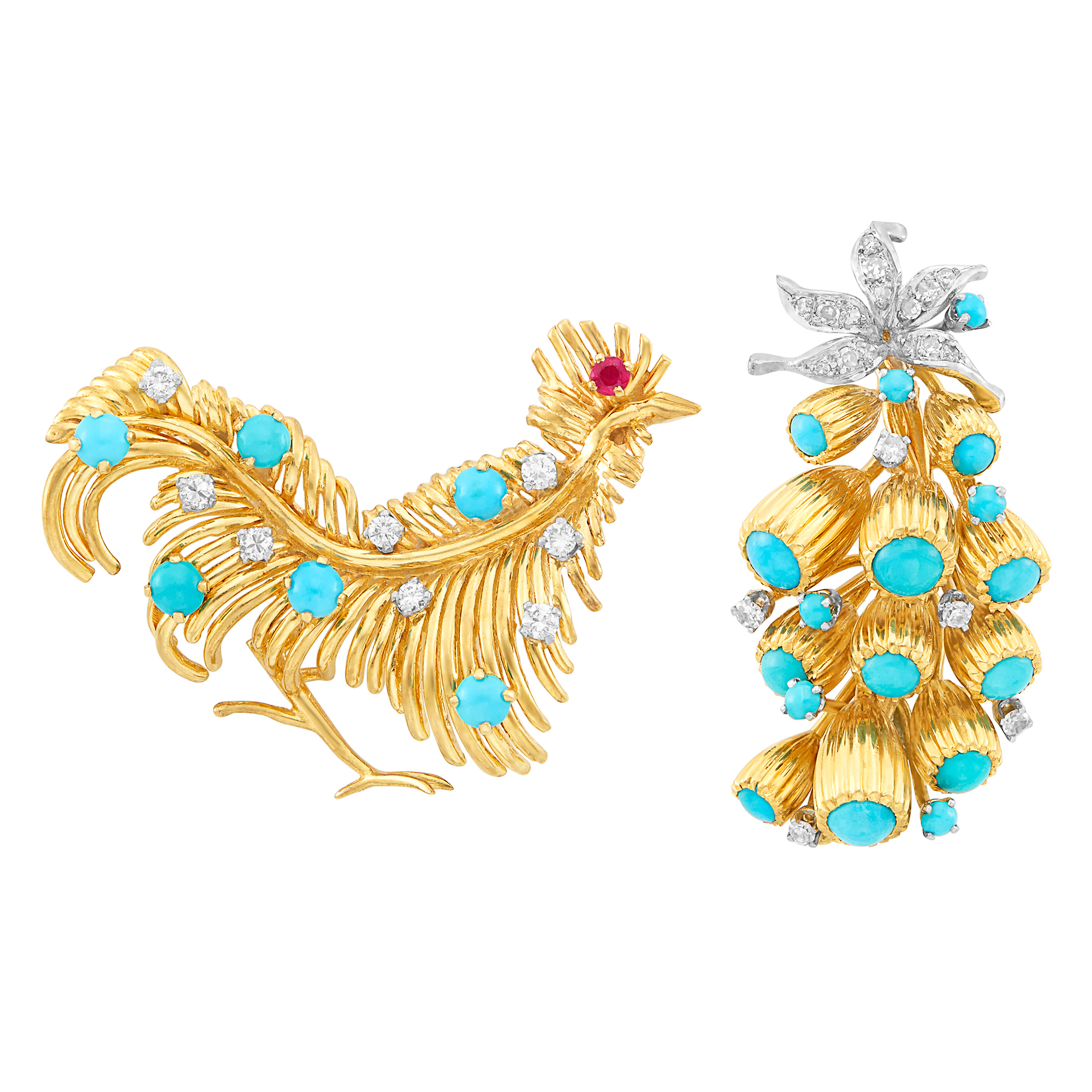 Lot image - Gold, Platinum, Turquoise and Diamond Floral Brooch and Gold, Turquoise, Diamond and Ruby Rooster Brooch