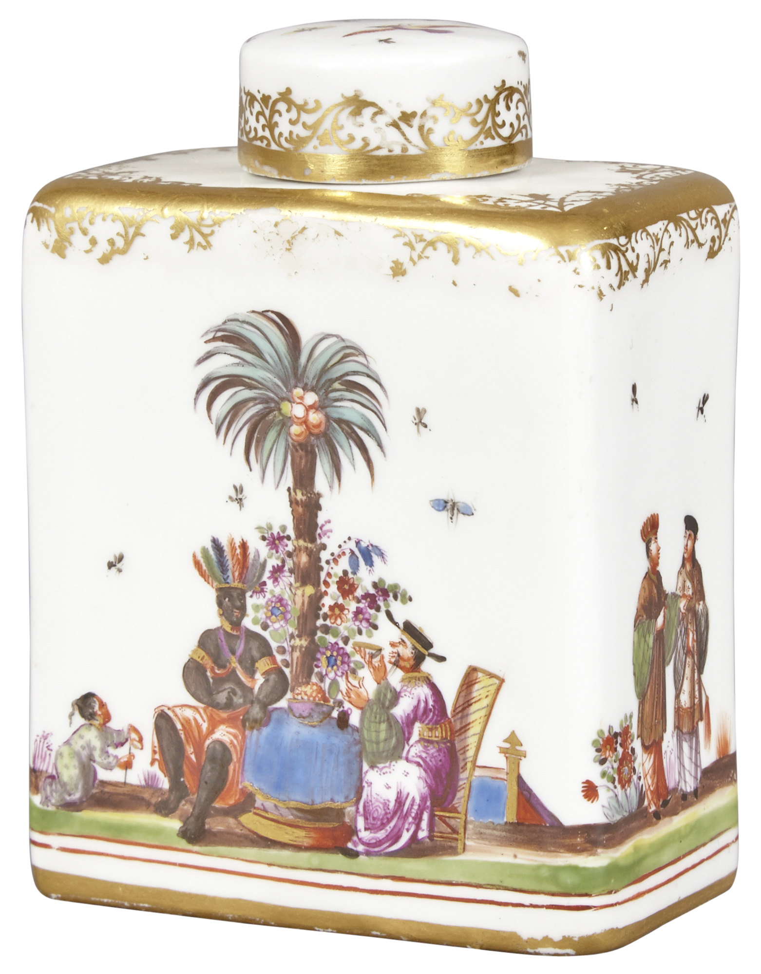 Lot image - Meissen Porcelain Horoldt Chinoiserie Decorated Tea Caddy