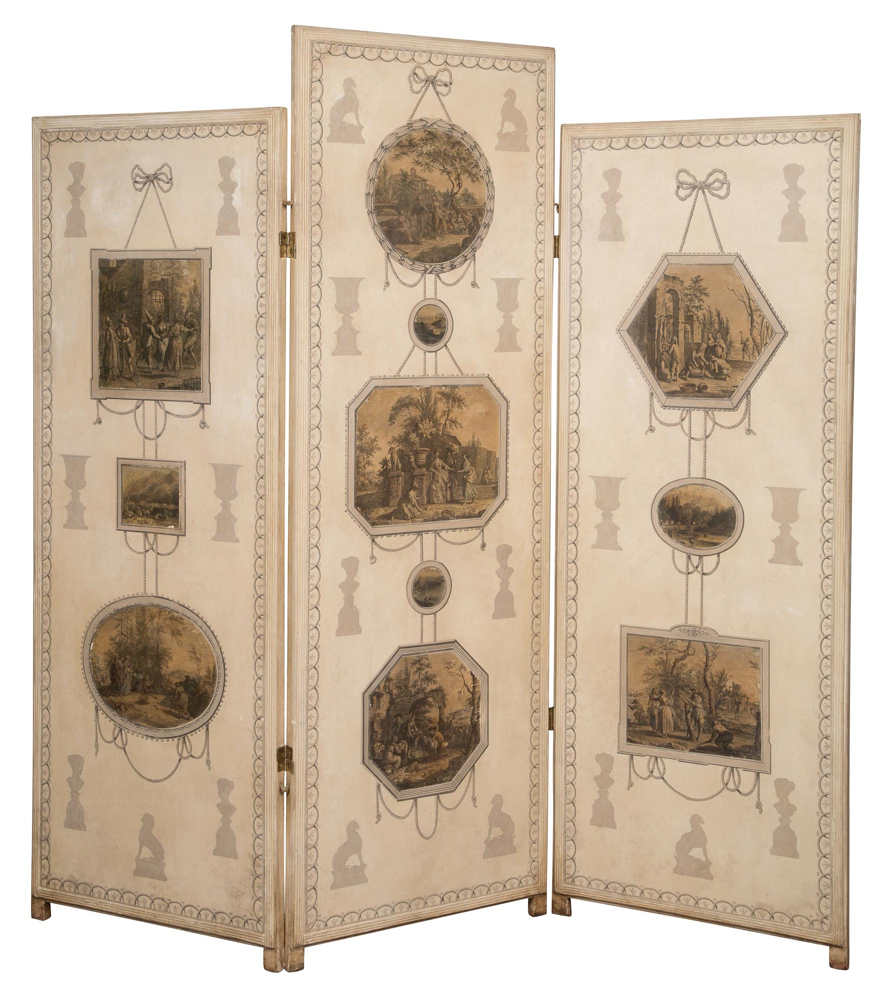 Lot image - Neoclassical Style Painted and Print-Mounted Three-Panel Screen