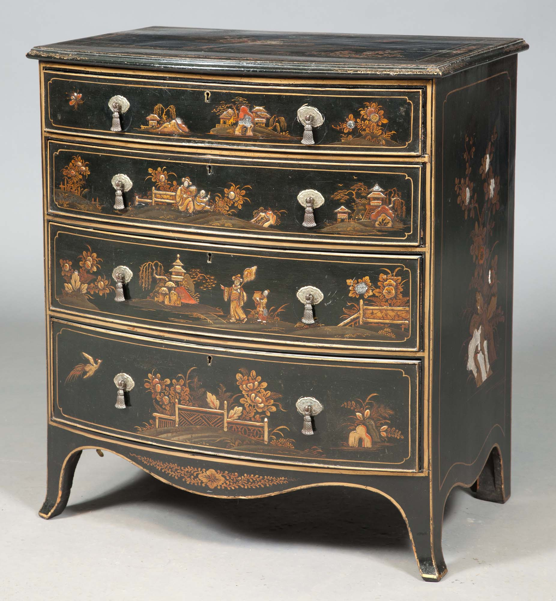 Lot image - George III Style Black-Japanned and Parcel-Gilt Chinoiserie-Decorated Bowfronted Chest of Drawers