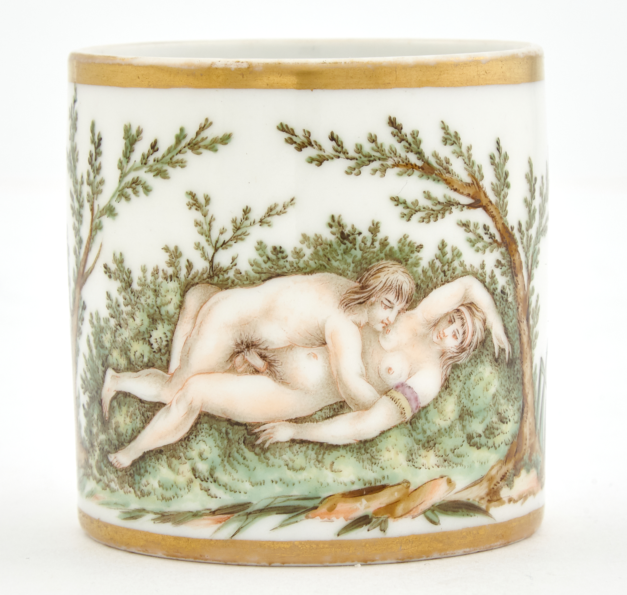 Lot image - Continental Porcelain Erotic Demitasse Cup