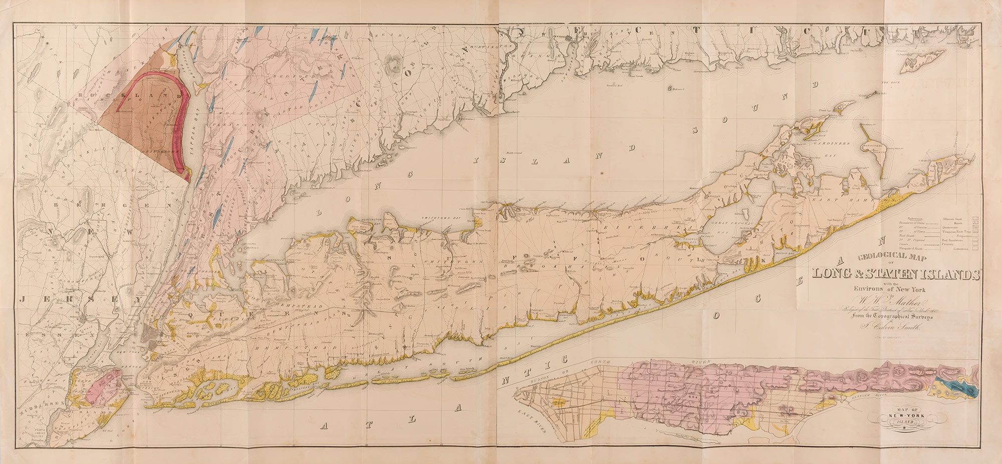 Lot image - [NEW YORK]  MATHER, W.W. Geological Map of Long & Staten Islands with the Environs of New York.