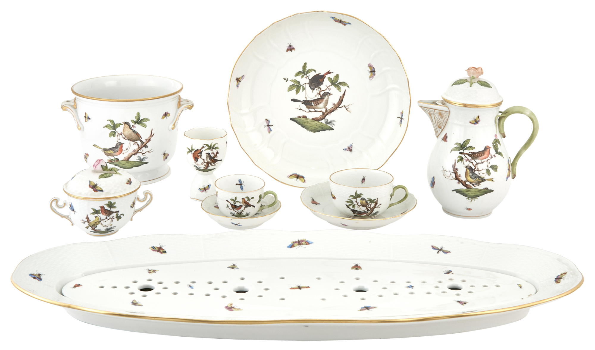 Lot image - Group of Herend Porcelain Rothschild Bird Pattern Tableware