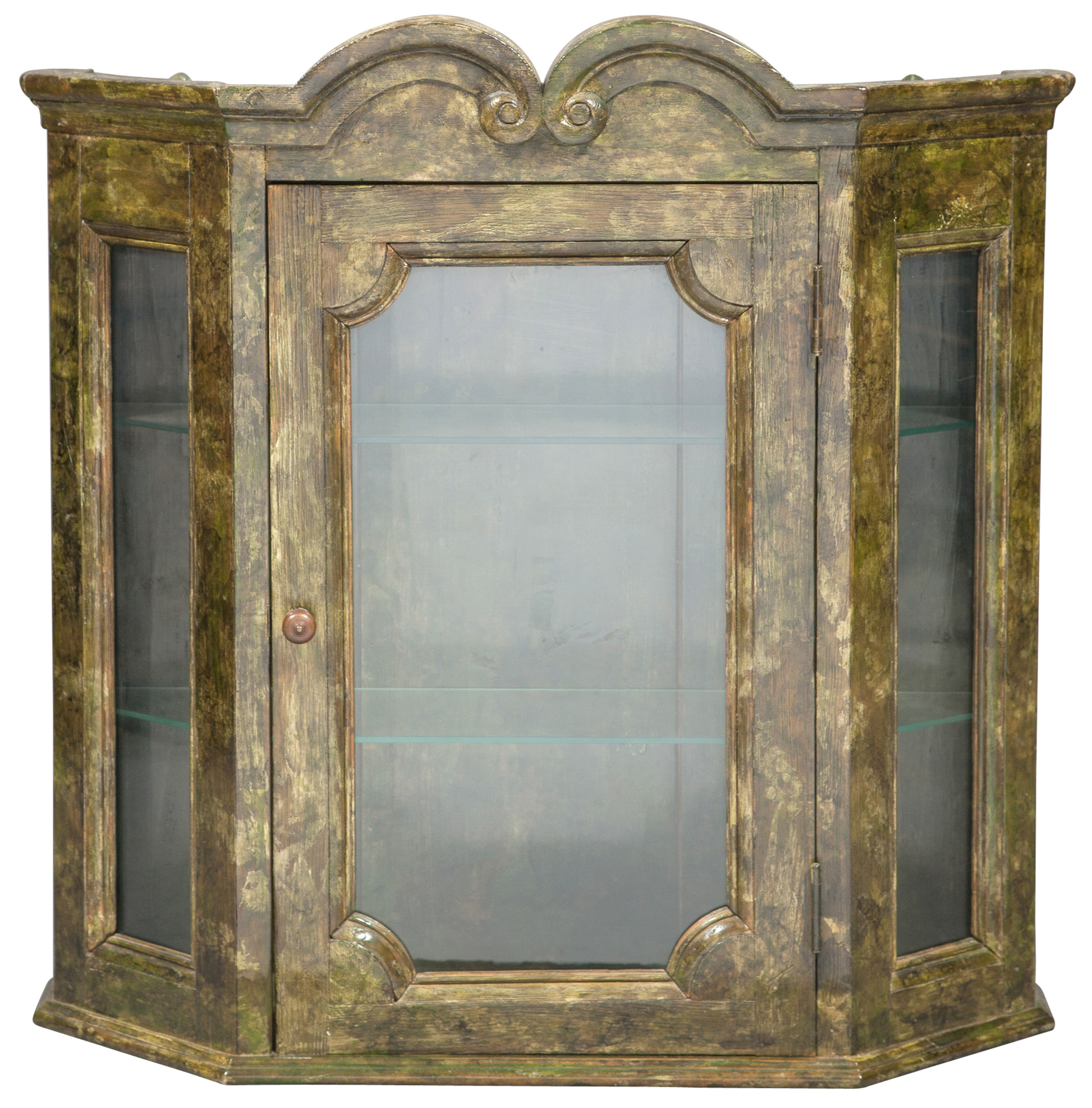 Lot image - Baroque Style Painted Wood Hanging Cupboard