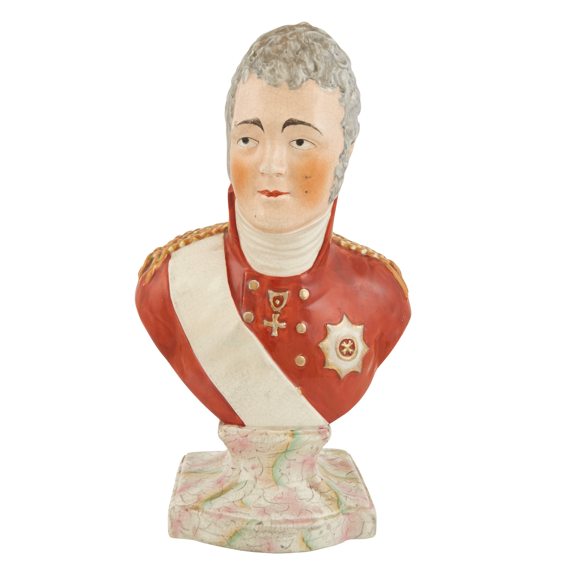 Lot image - Staffordshire Pottery Bust of Emperor Alexander I
