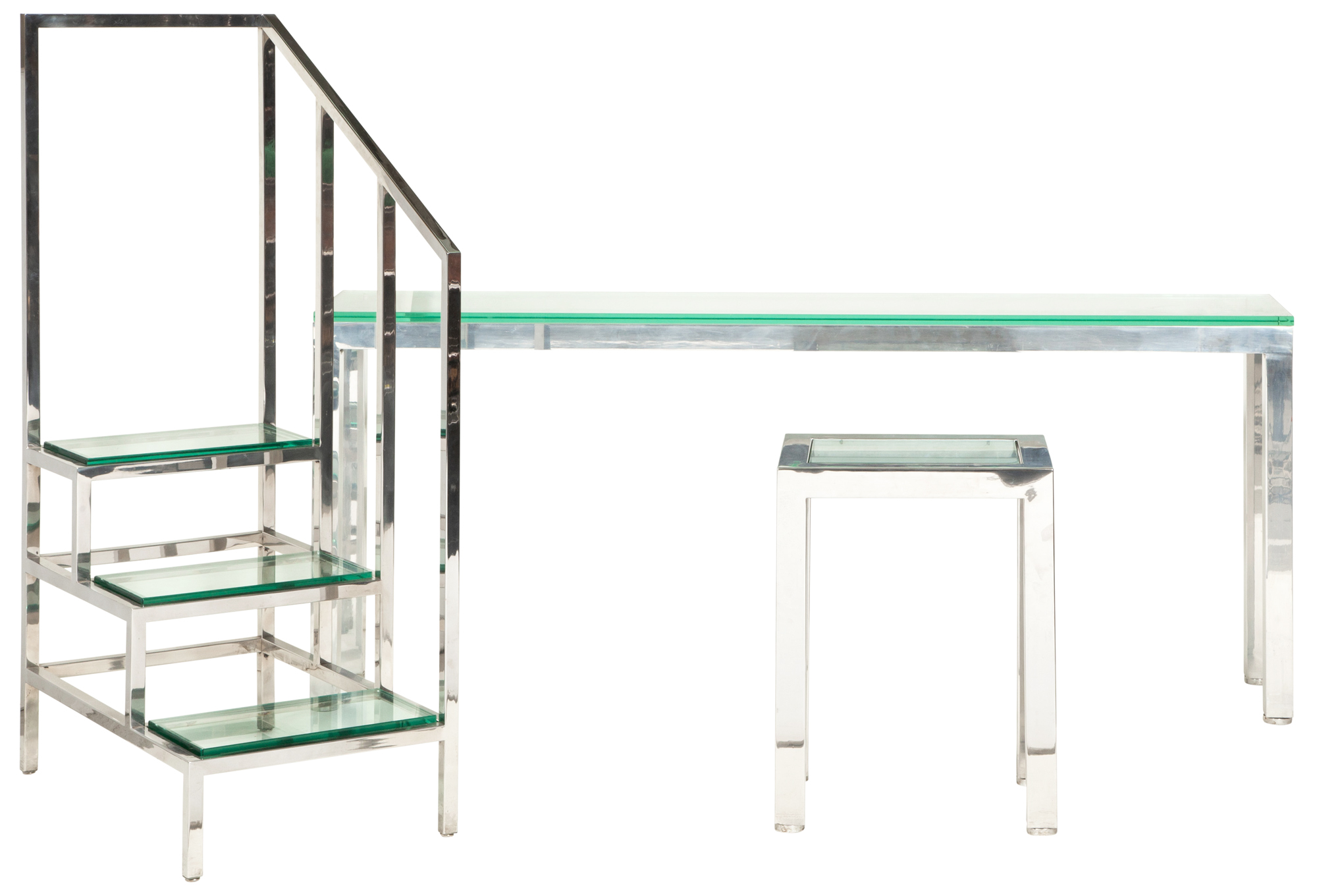 Lot image - Chrome and Glass Console Table and a Chrome and Glass Occasional Table