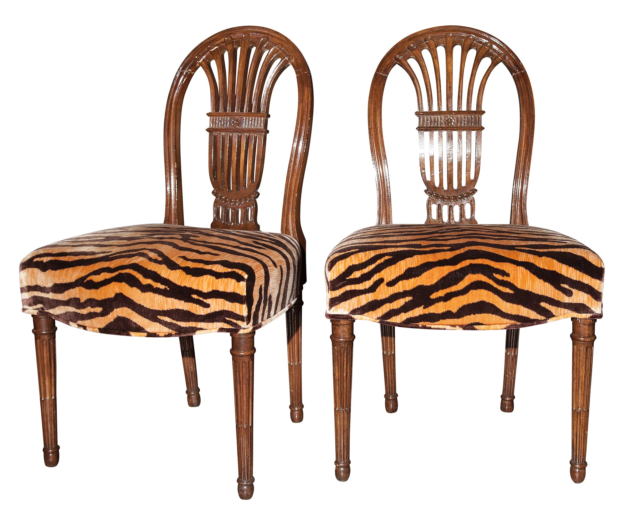 Lot image - Pair of Continental Neoclassical Walnut Side Chairs