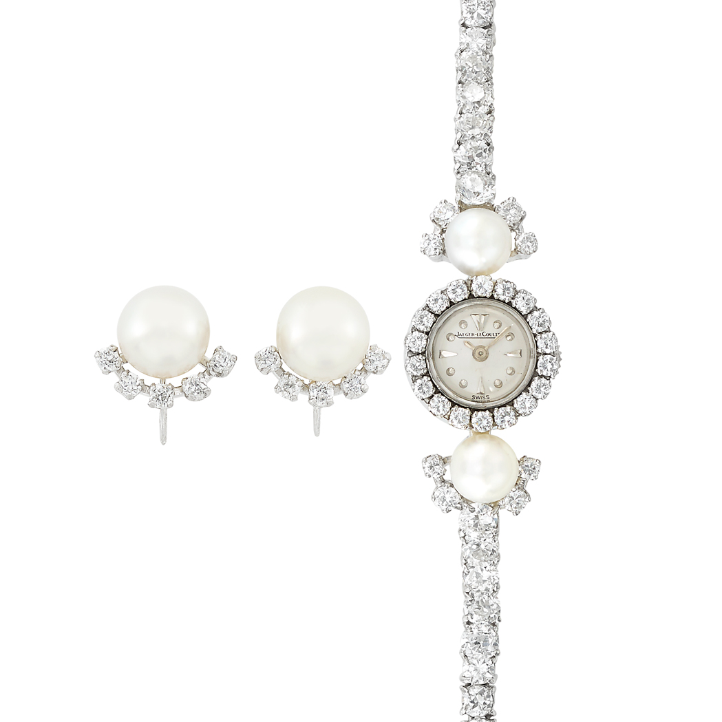 Lot image - Platinum, White Gold, Diamond and Cultured Pearl Wristwatch, Jaeger LeCoultre, and Pair of Earclips