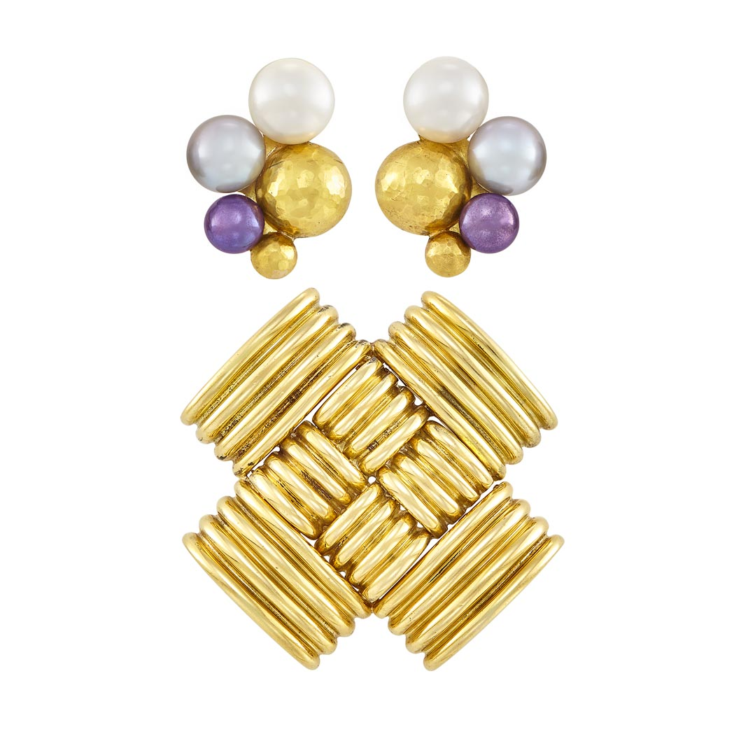 Lot image - Pair of Gold, Freshwater and Cultured Button Pearl Earclips and Gold Pendant-Brooch