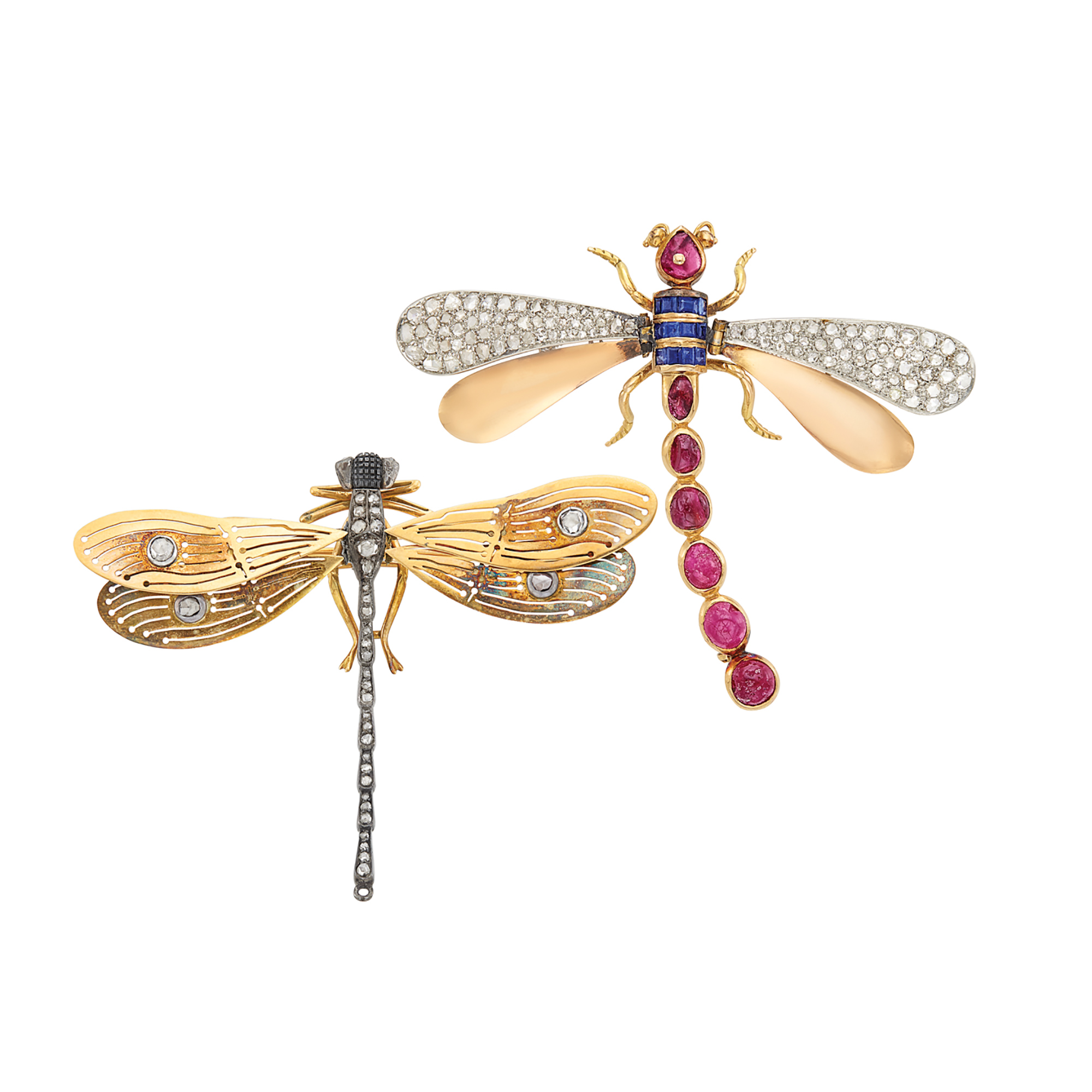 Lot image - Antique and Retro Gold, Platinum, Silver, Cabochon Ruby, Sapphire and Diamond Dragonfly Brooches