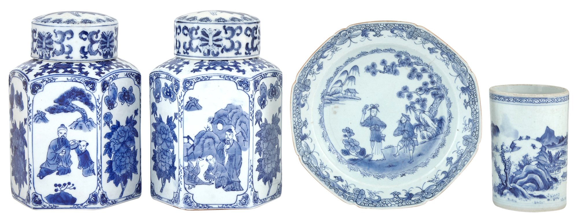 Lot image - Four Chinese Blue and White Porcelain Table Articles