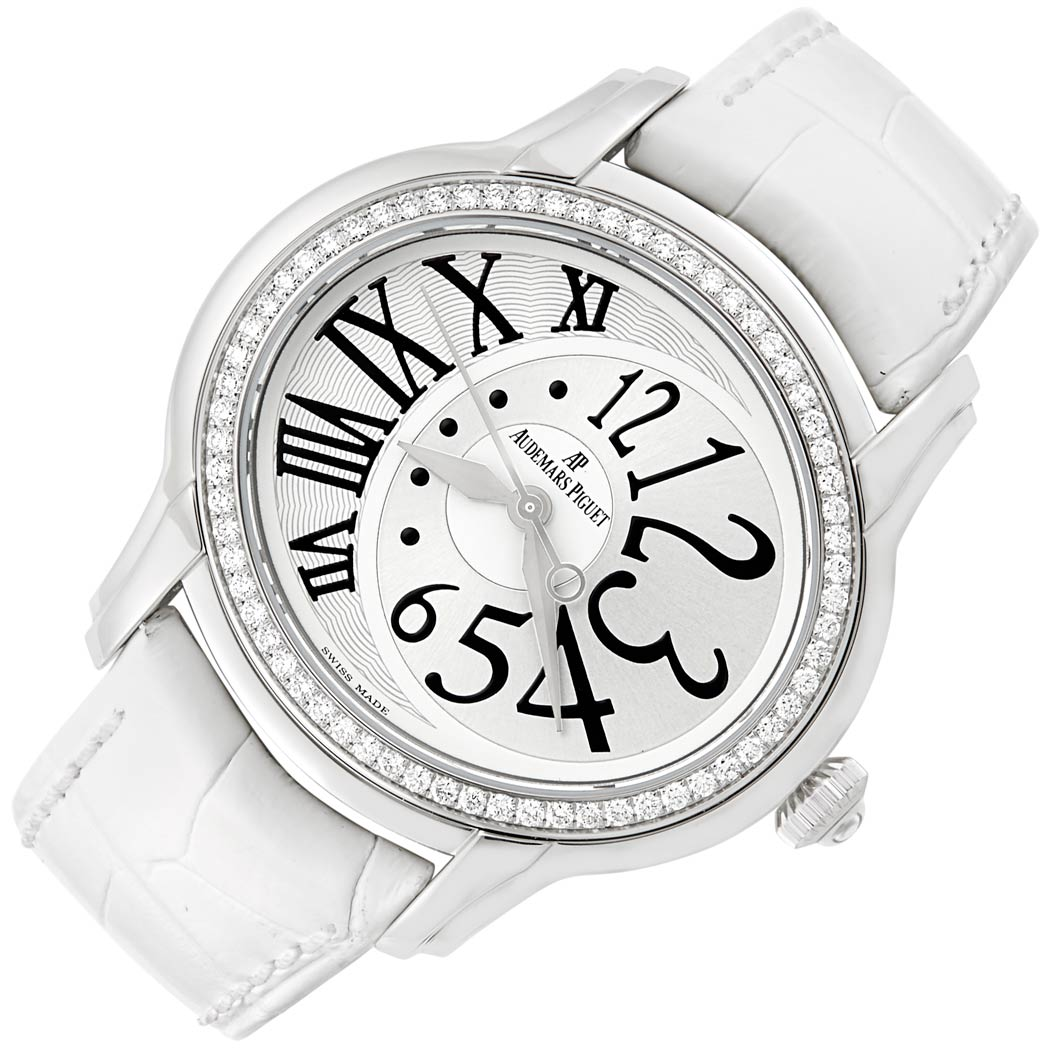 Lot image - Lady's Stainless Steel and Diamond 'Millenary' Wristwatch, Audemars Piguet, Ref. 7730