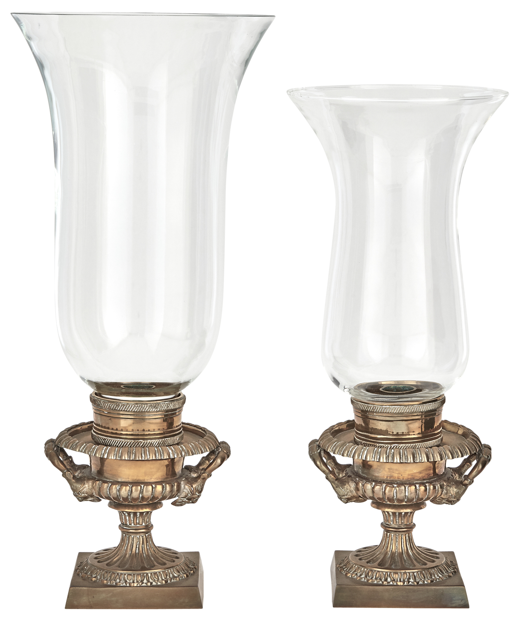 Lot image - Assembled Pair of Bronze and Glass Hurricane Lamps   D>  Each urn base with mask handles. Height of larger 17 1/4 inches (43.8 cm).