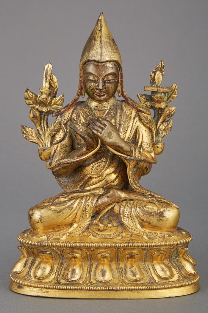 Lot image - Tibetan Gilt-Bronze Figure of a Lama
