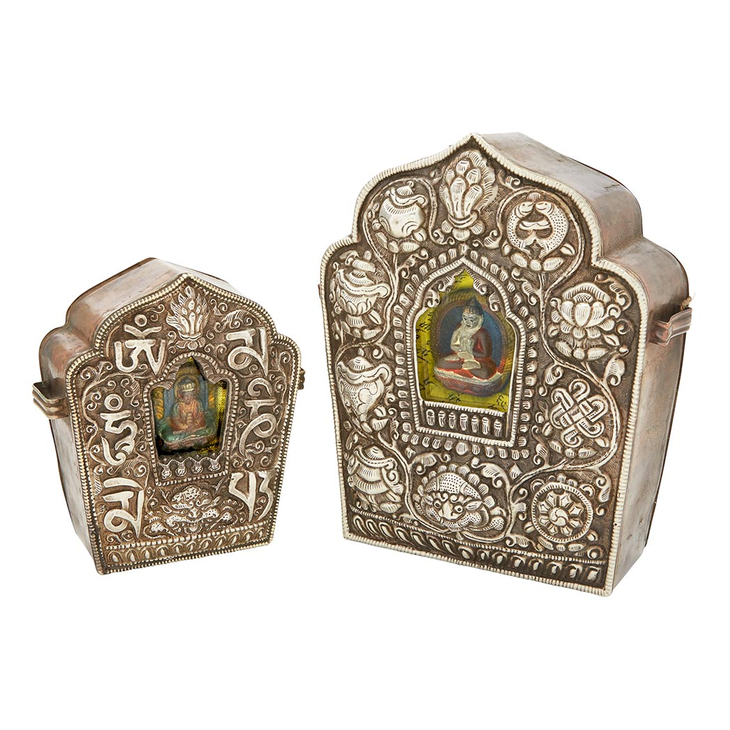 Lot image - Two Tibetan Silver and Copper Tibetan Traveling Shrines, 'Gau'