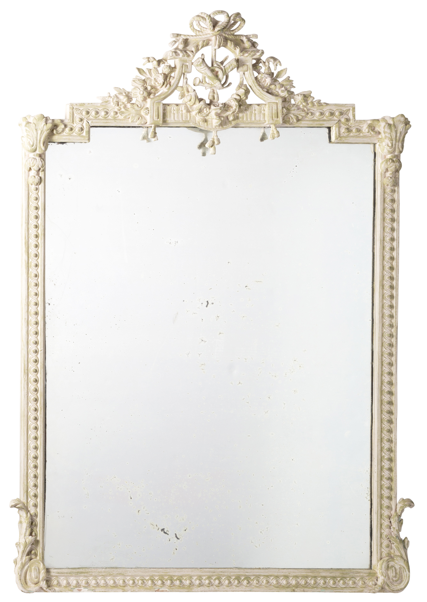 Lot image - George III Style Green and Cream-Painted Overmantel Mirror