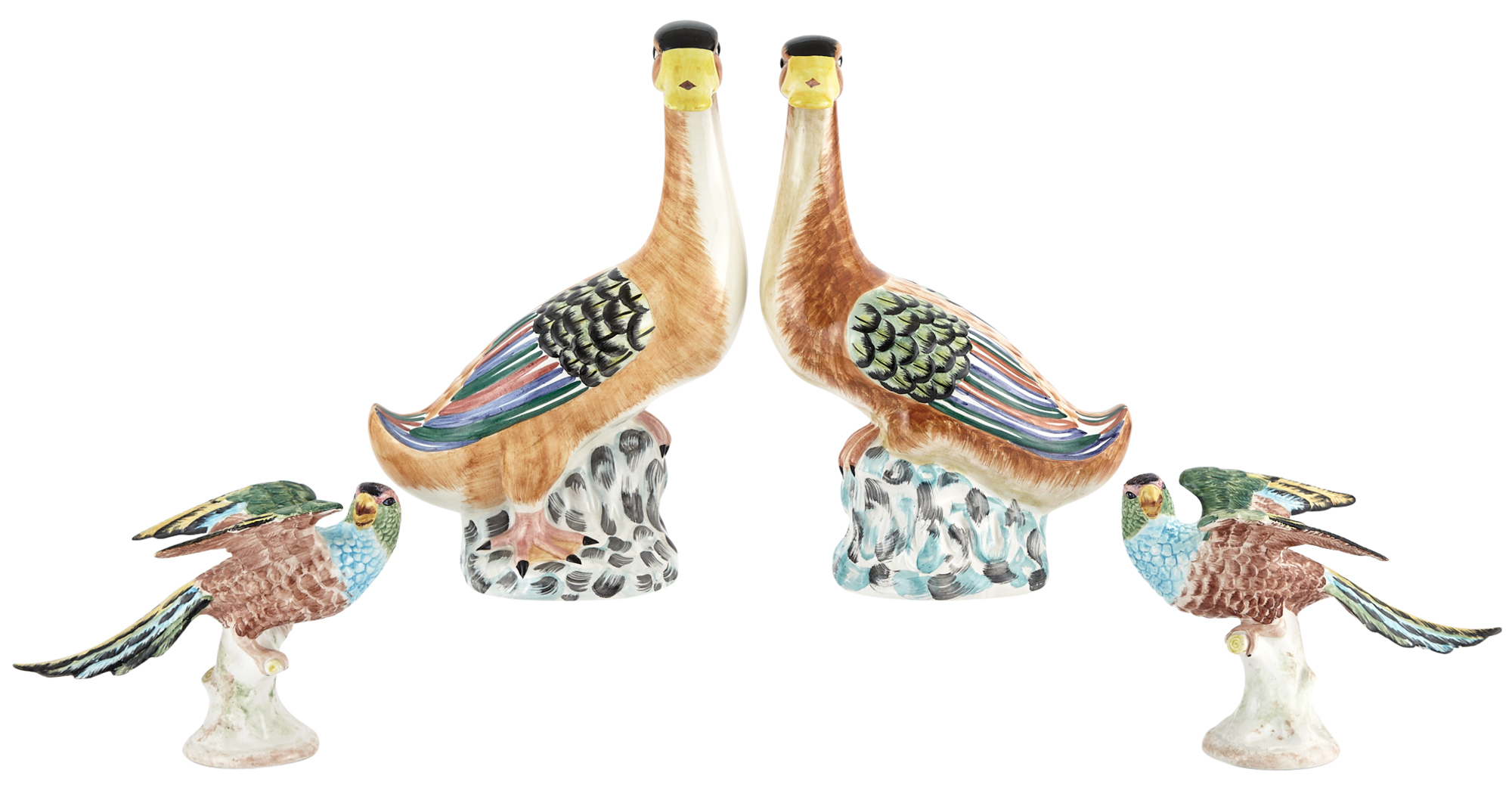 Lot image - Pair of Mottahedeh Polychrome Pottery Ducks and a Pair of Mottahedeh Polychrome Pottery Parrots