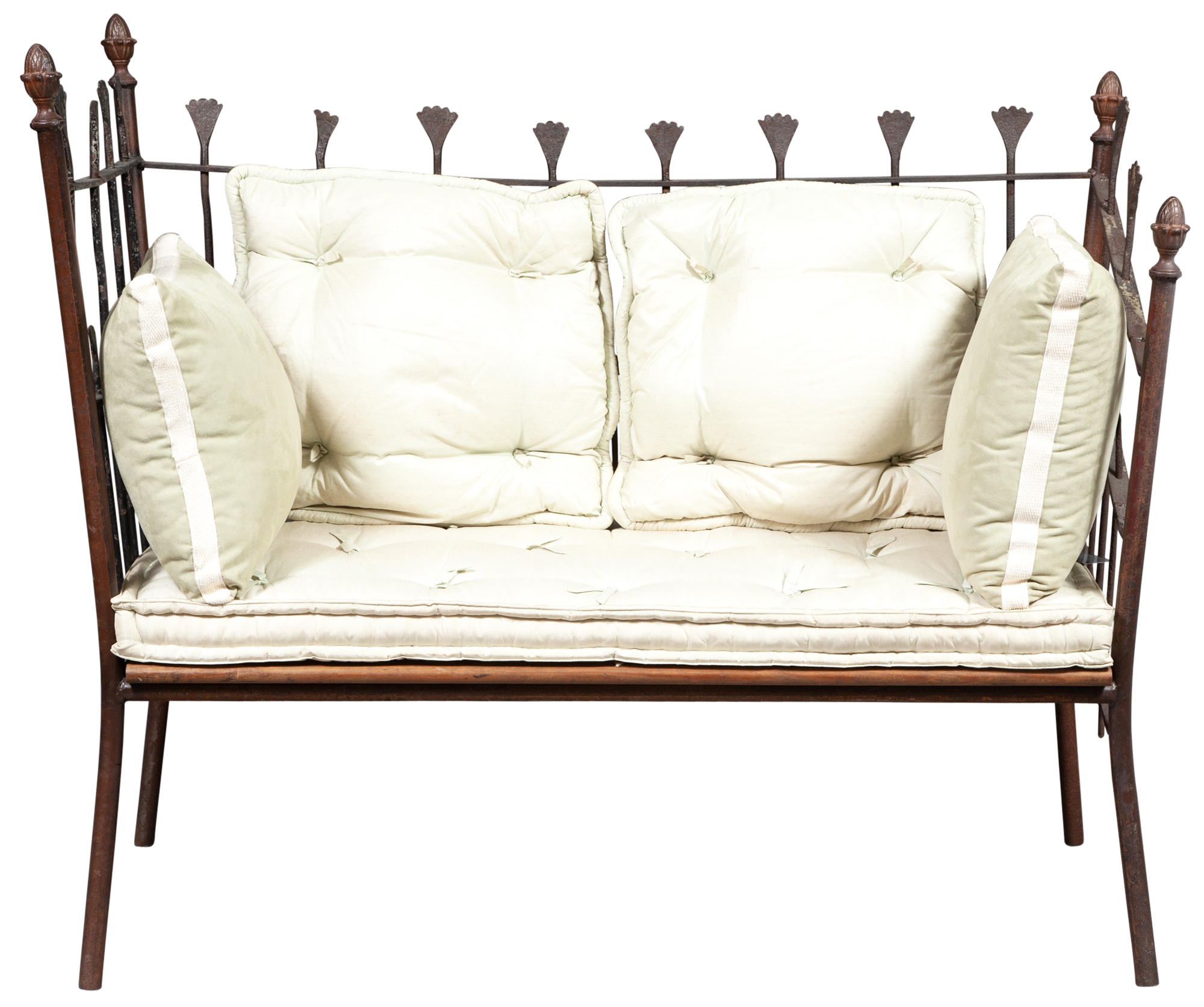 Lot image - French Wrought-Iron Garden Bench