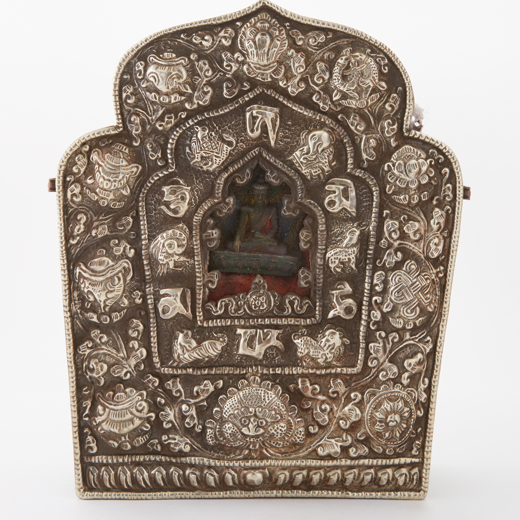 Lot image - Tibetan Silver and Copper Traveling Shrine, 'Gau'