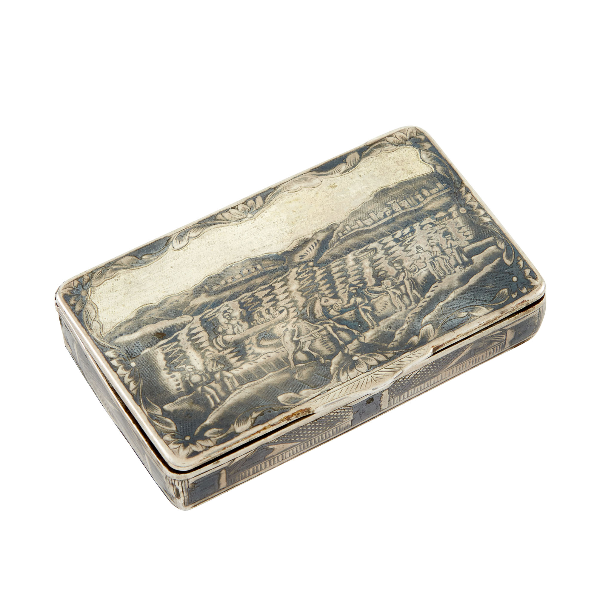 Lot image - Russian Silver-Gilt and Niello Snuff Box