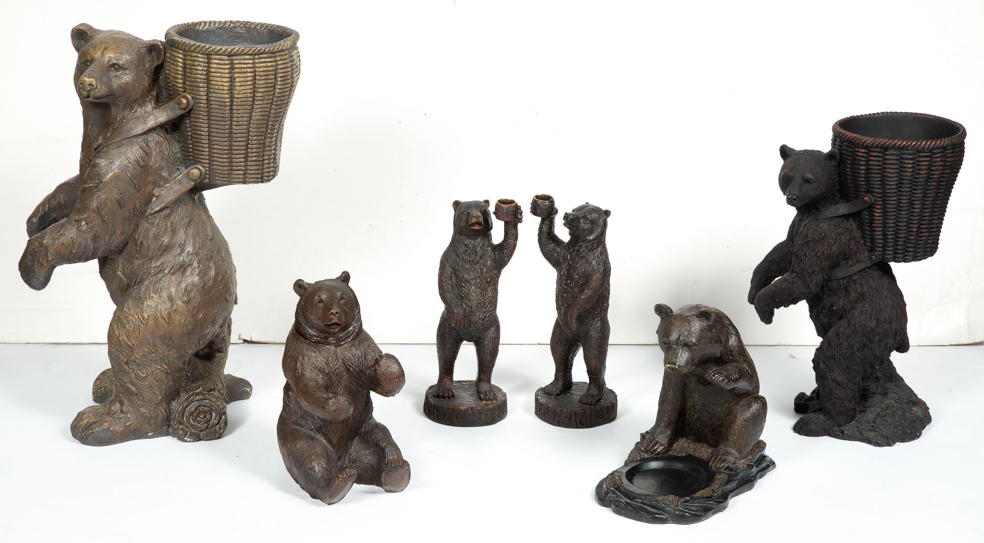 Lot image - Miscellaneous Group of Six Wood and Composition Figures of Bears