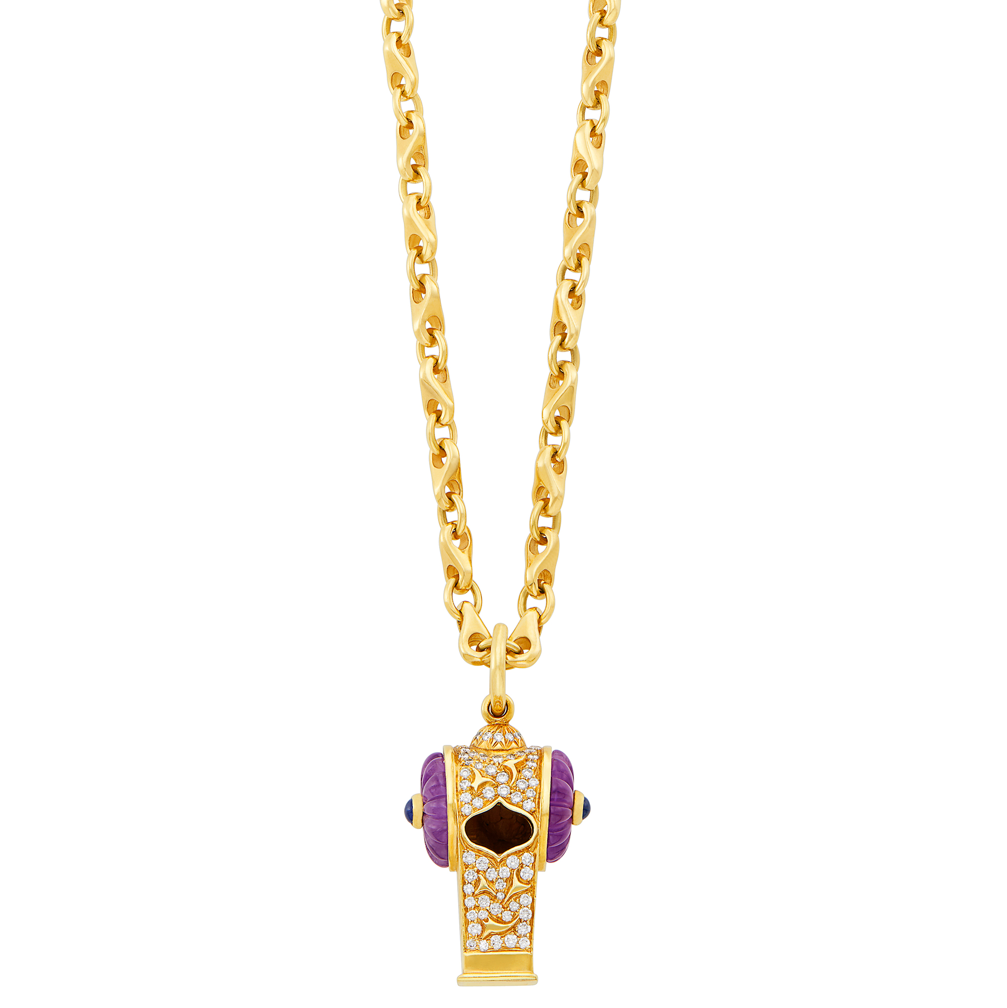 Lot image - Gold, Diamond, Fluted Amethyst, Cabochon Sapphire and Diamond Whistle Pendant with Long Chain Necklace, Harry Winston