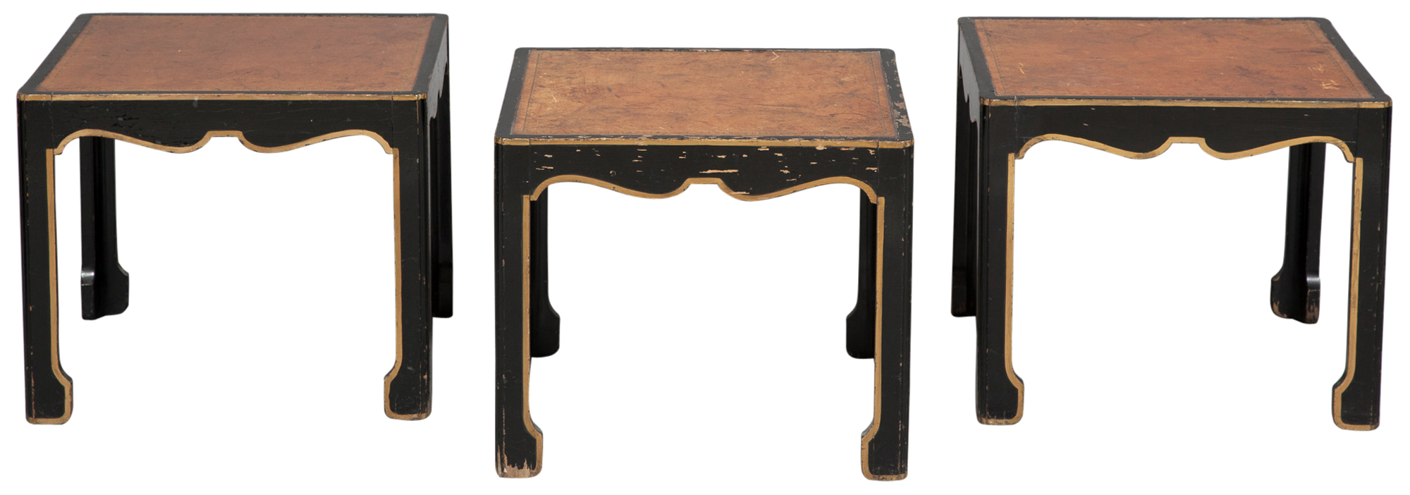 Lot image - Set of Three Asian Style Black and Gilt-Painted Faux-Leather Inset Side Tables