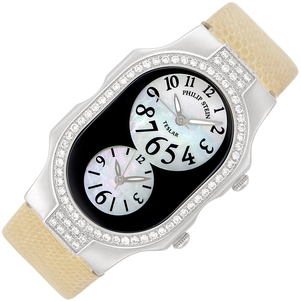 Lot image - Stainless Steel and Diamond Dual Time Magenetic Teslar Wristwatch, Philip Stein