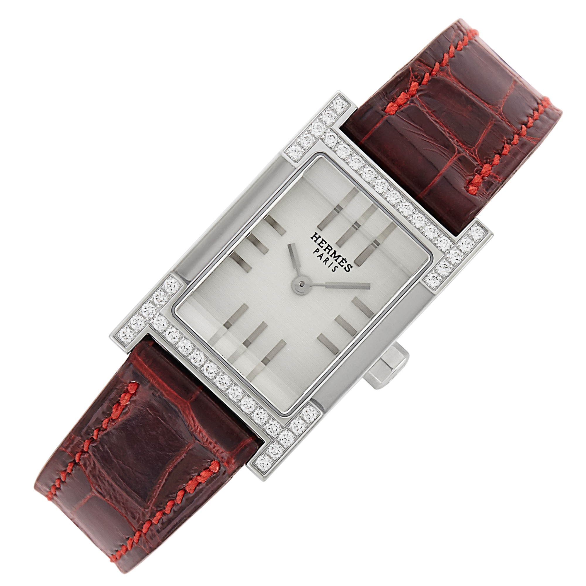 Lot image - Stainless Steel and Diamond Tandem Wristwatch, Hermès