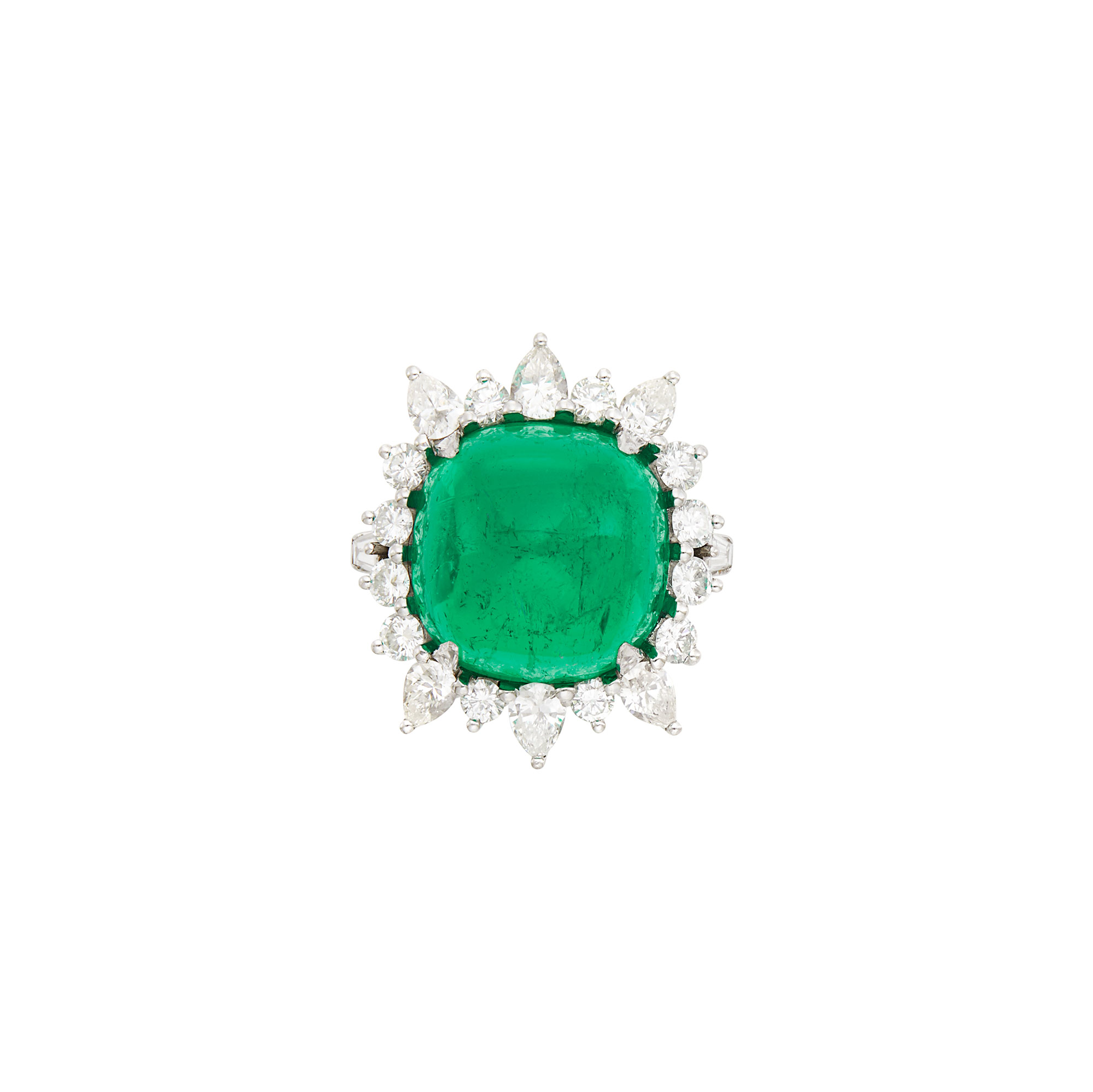 Lot image - Platinum, Cabochon Emerald and Diamond Ring